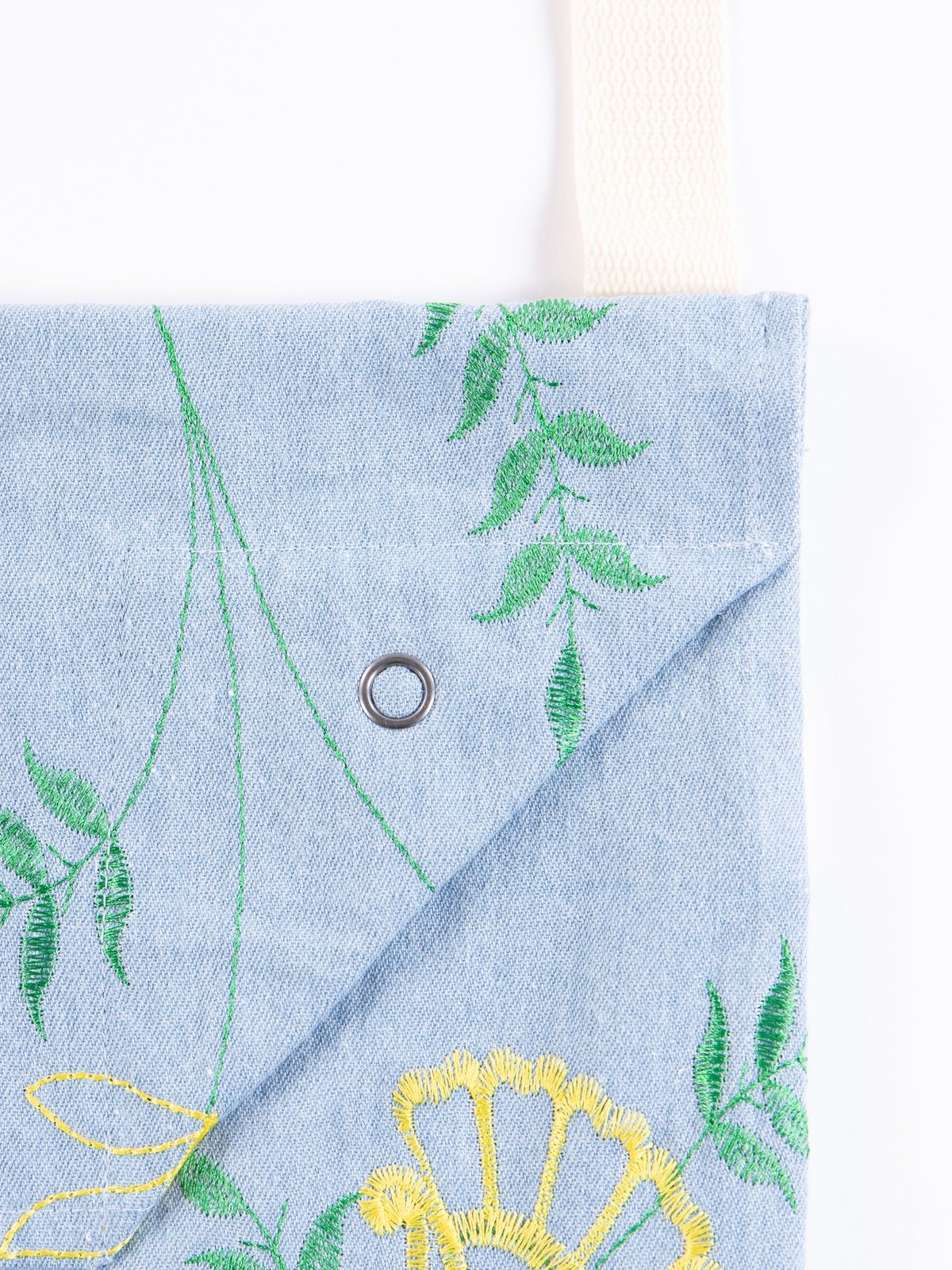 Light Blue Denim Floral Embroidery Shoulder Pouch - Image 3