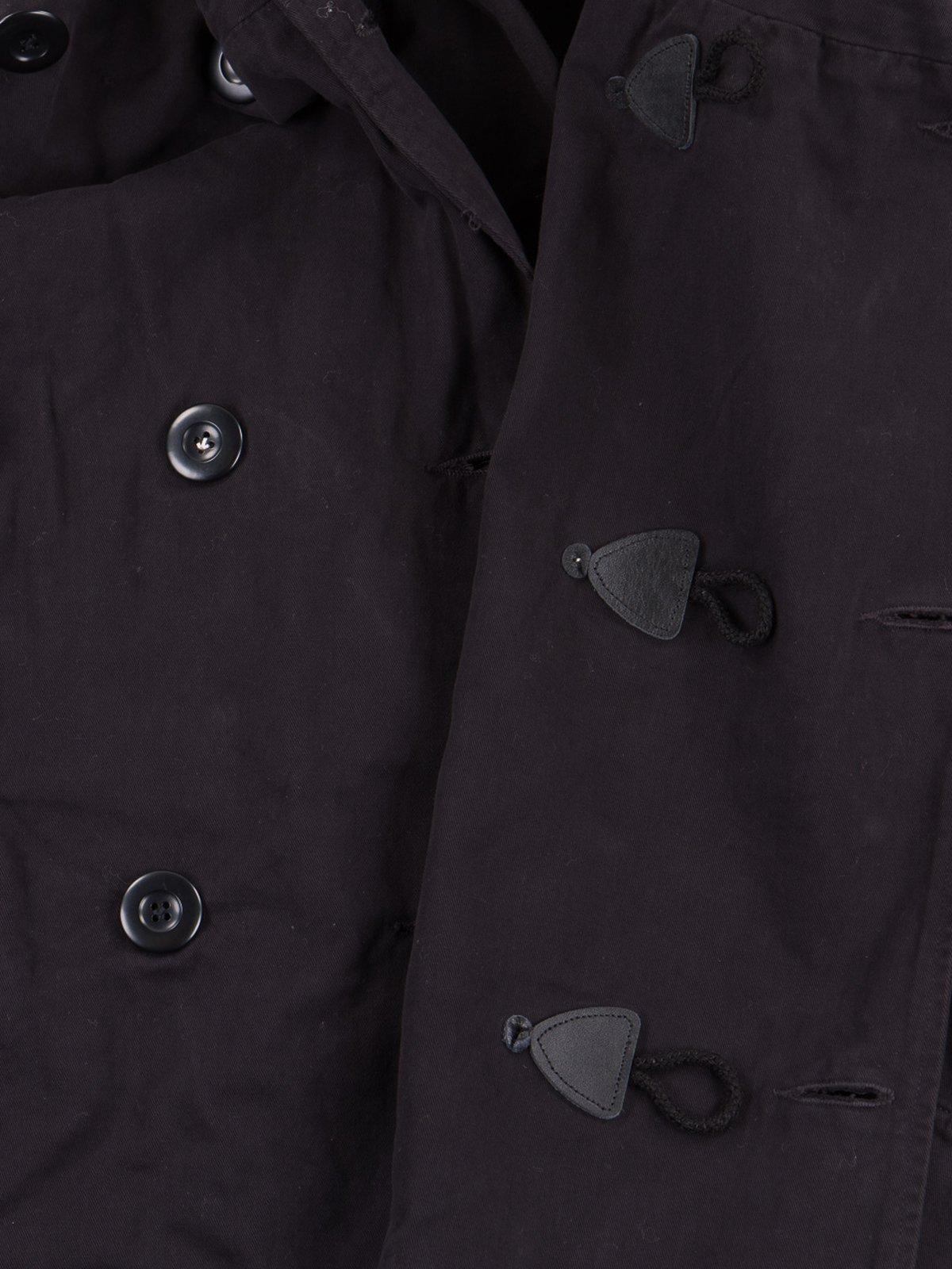 Black Brushed Twill Tri–P Ring Coat - Image 4