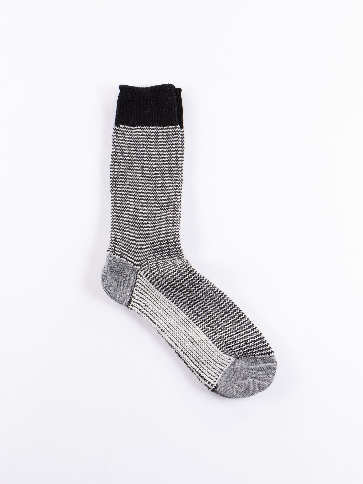 Deep Black/Natural S78 Wool Striped Sock - Image 1