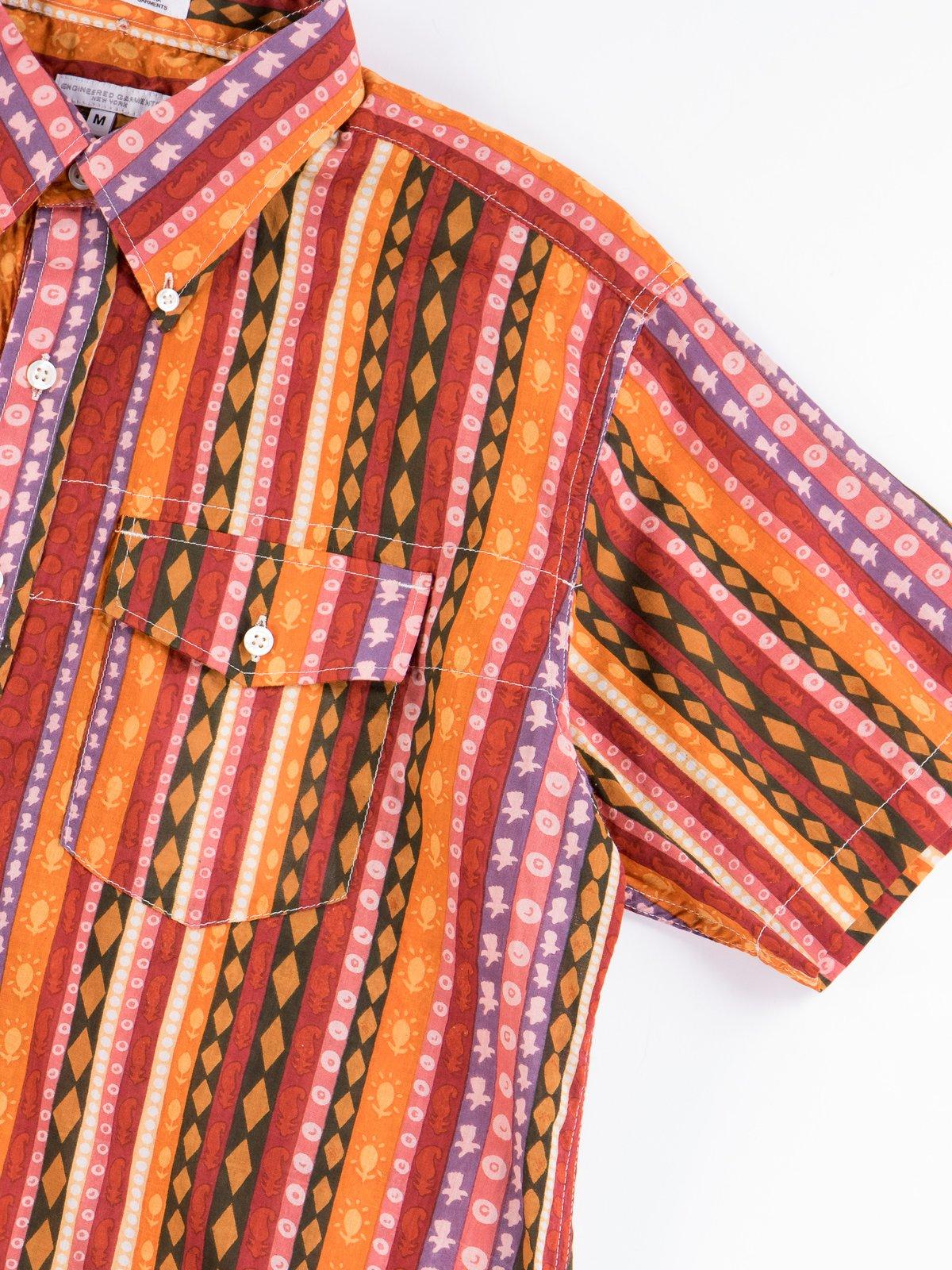 Orange Cotton Lawn Batik Stripe Popover BD Shirt - Image 3