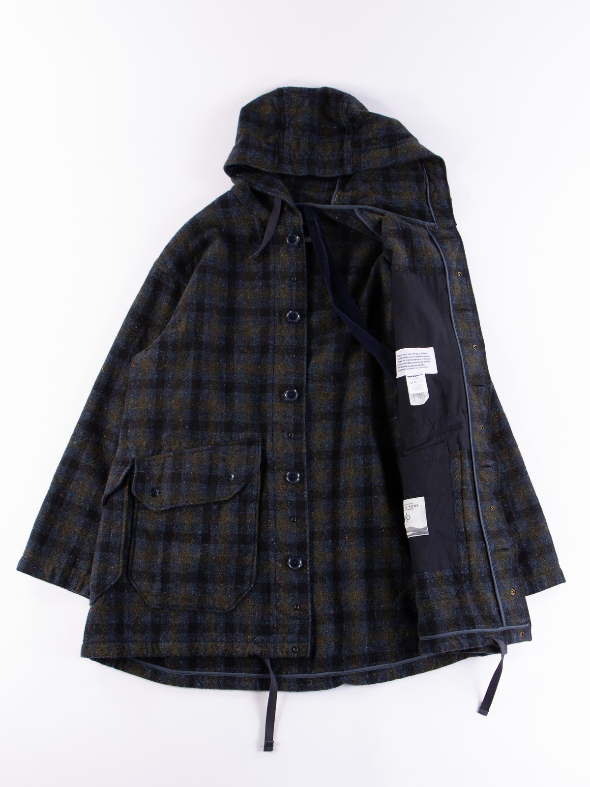 Navy Check Donegal Wool Tweed Madison Parka - Image 8