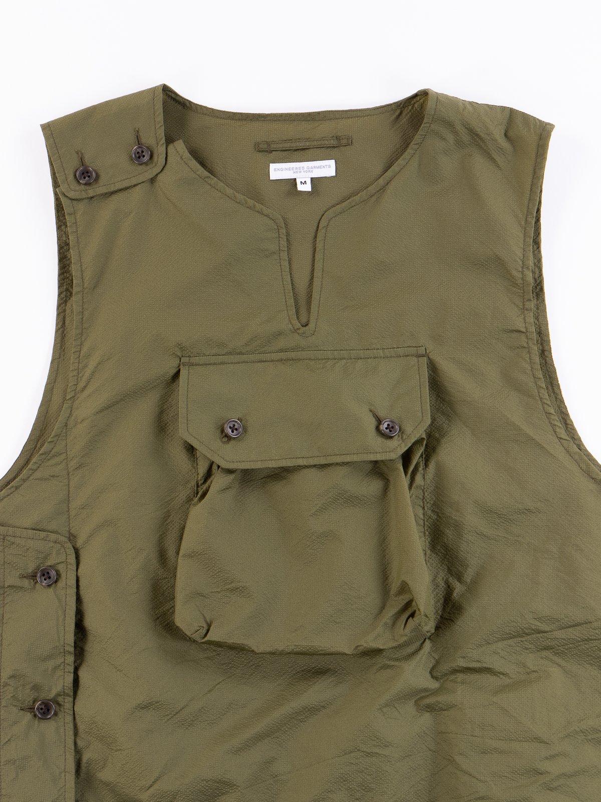 Olive Nylon Micro Ripstop Cover Vest - Image 3