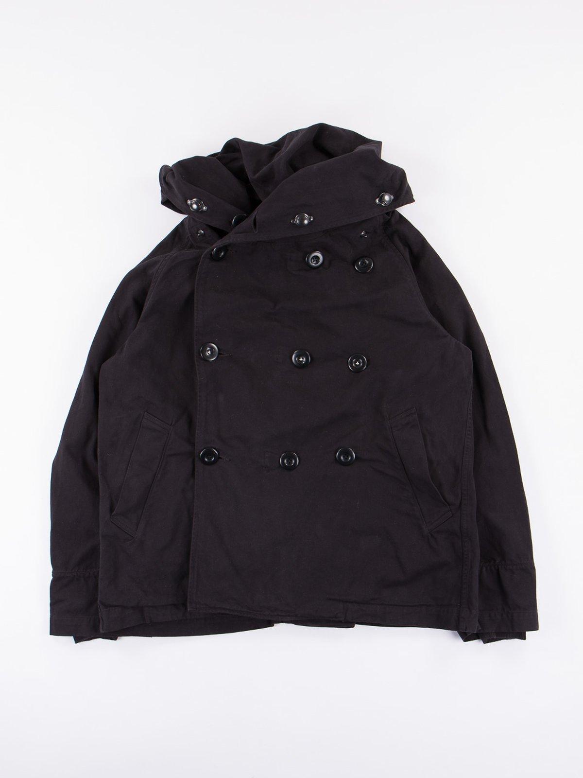 Black Brushed Twill Tri–P Ring Coat - Image 1