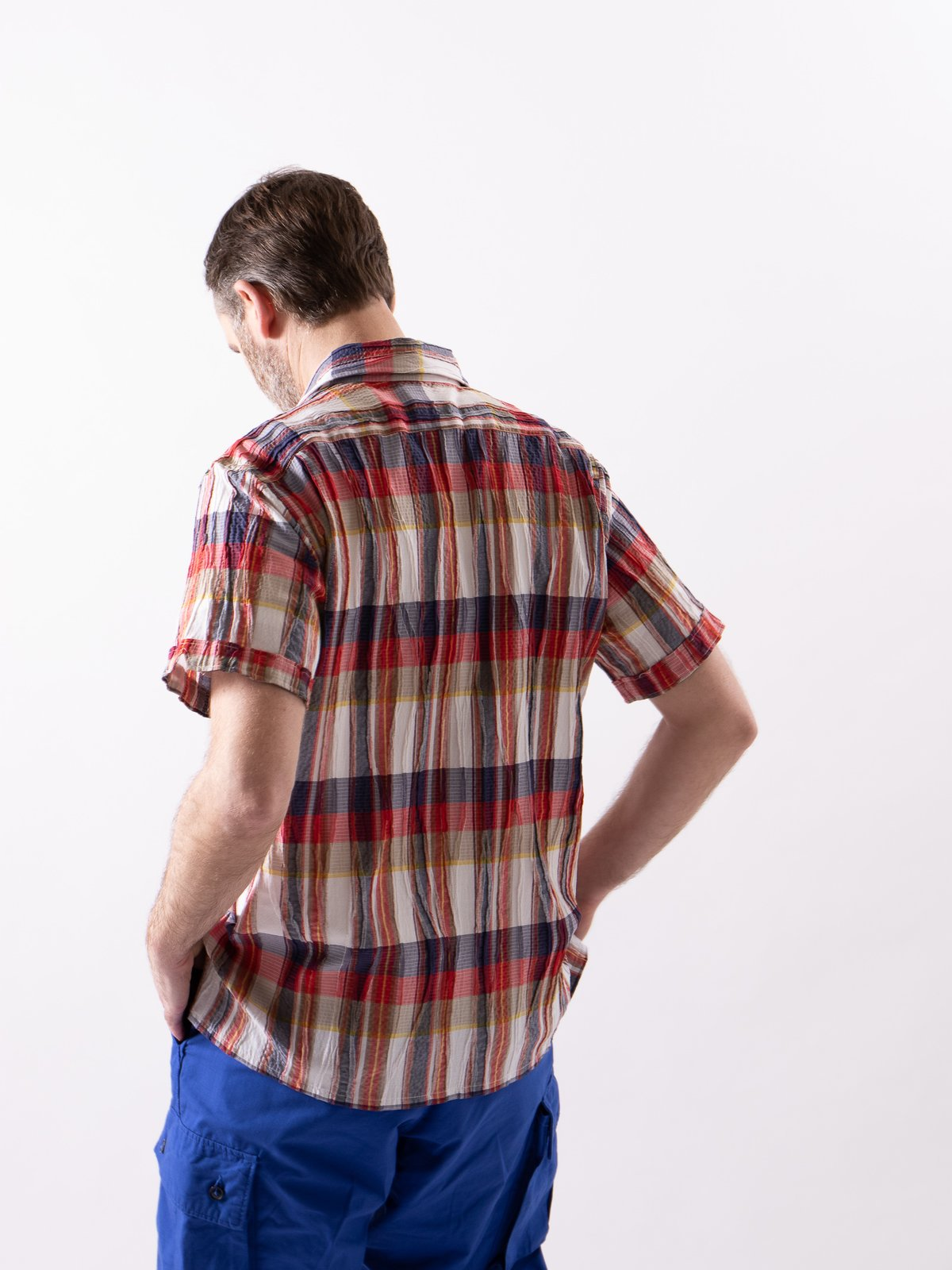 Red/White Cotton Crepe Check Camp Shirt - Image 3