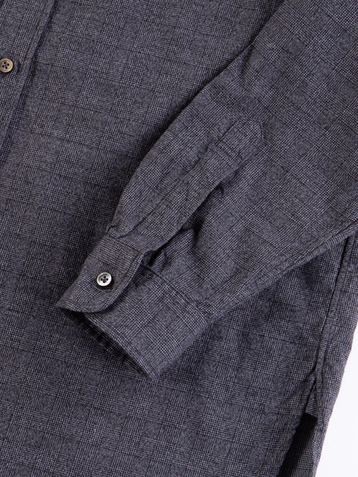 Grey Cotton Glen Plaid 19th Century BD Shirt - Image 4