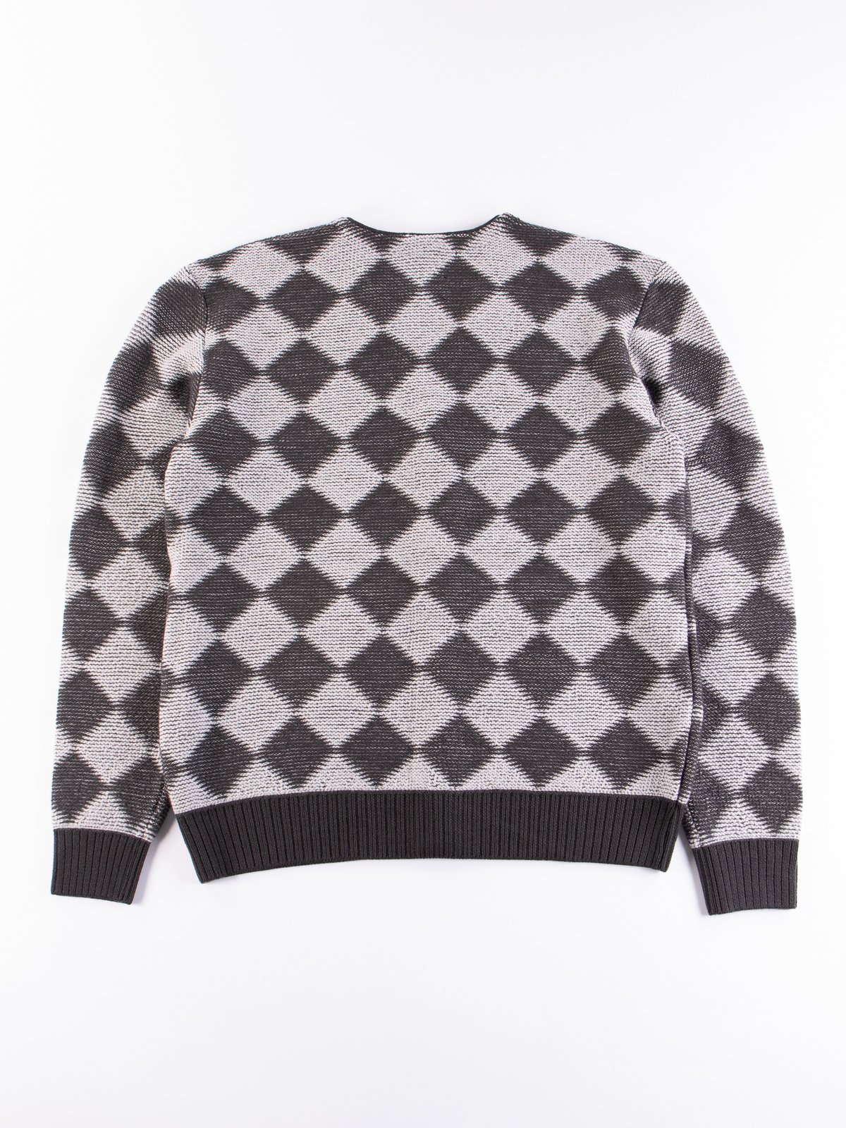 Charcoal Checkered V Neck Cardigan - Image 5