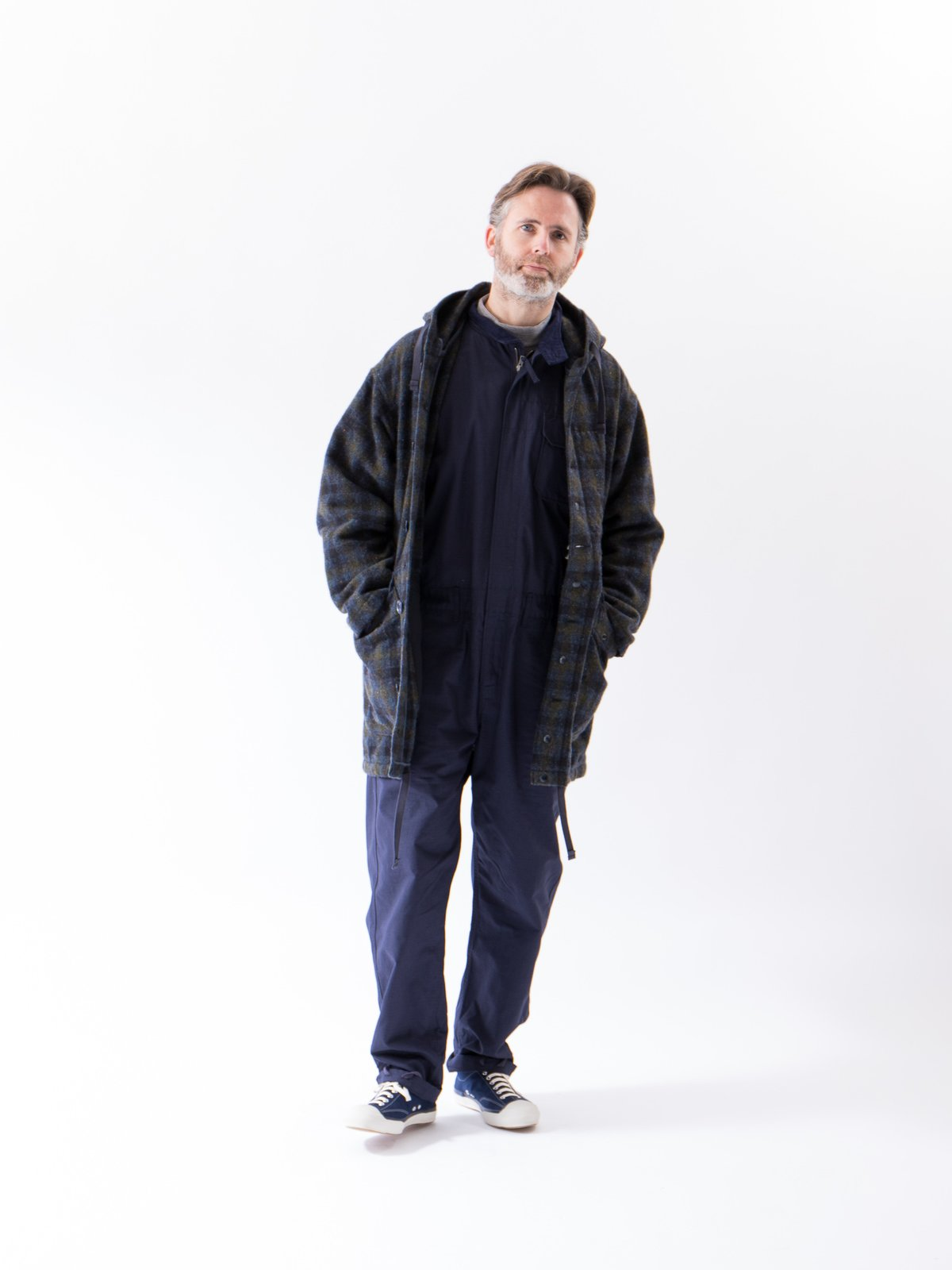 Navy Check Donegal Wool Tweed Madison Parka - Image 3