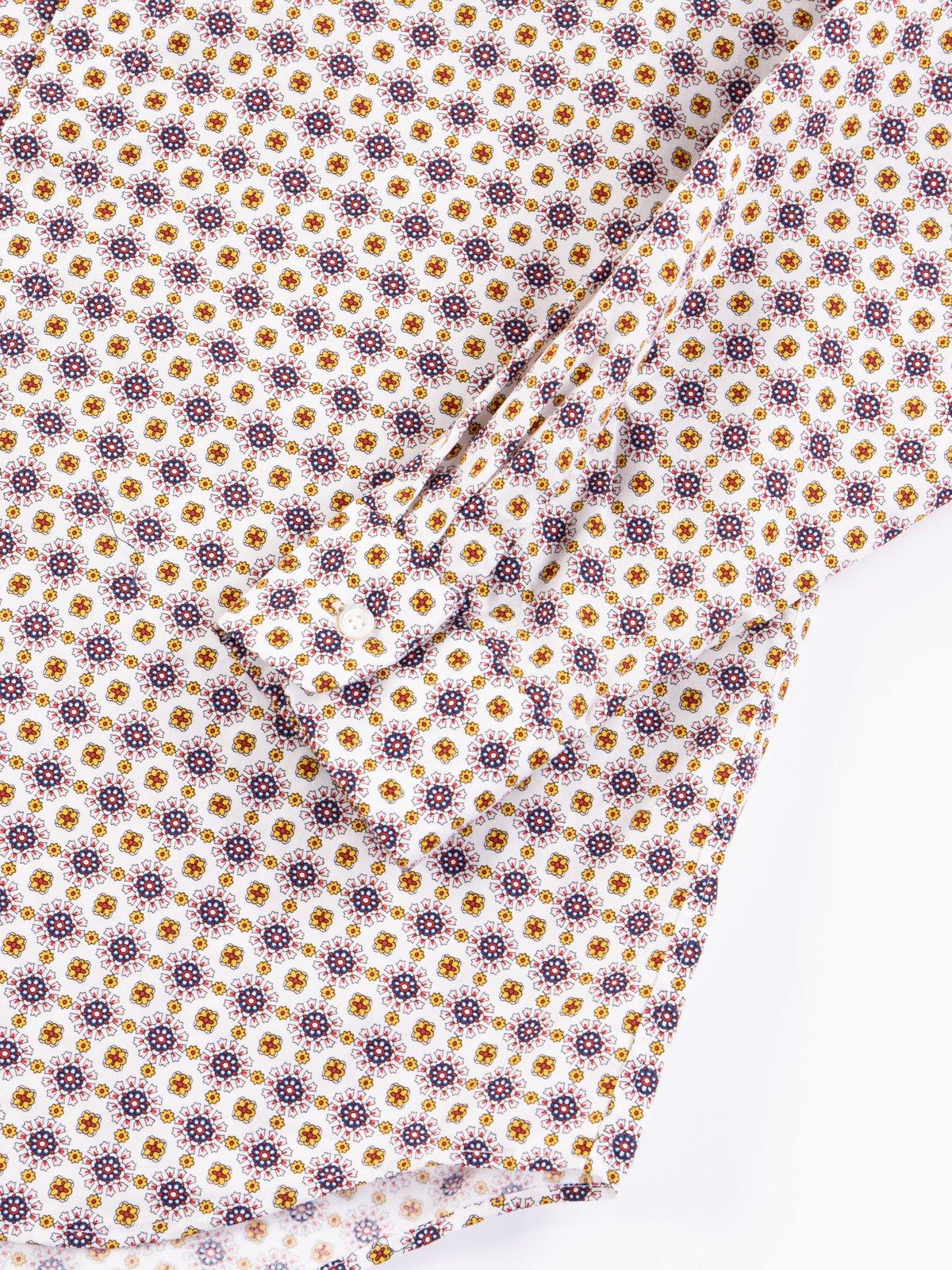 White Floral Foulard Print Short Collar Shirt - Image 4