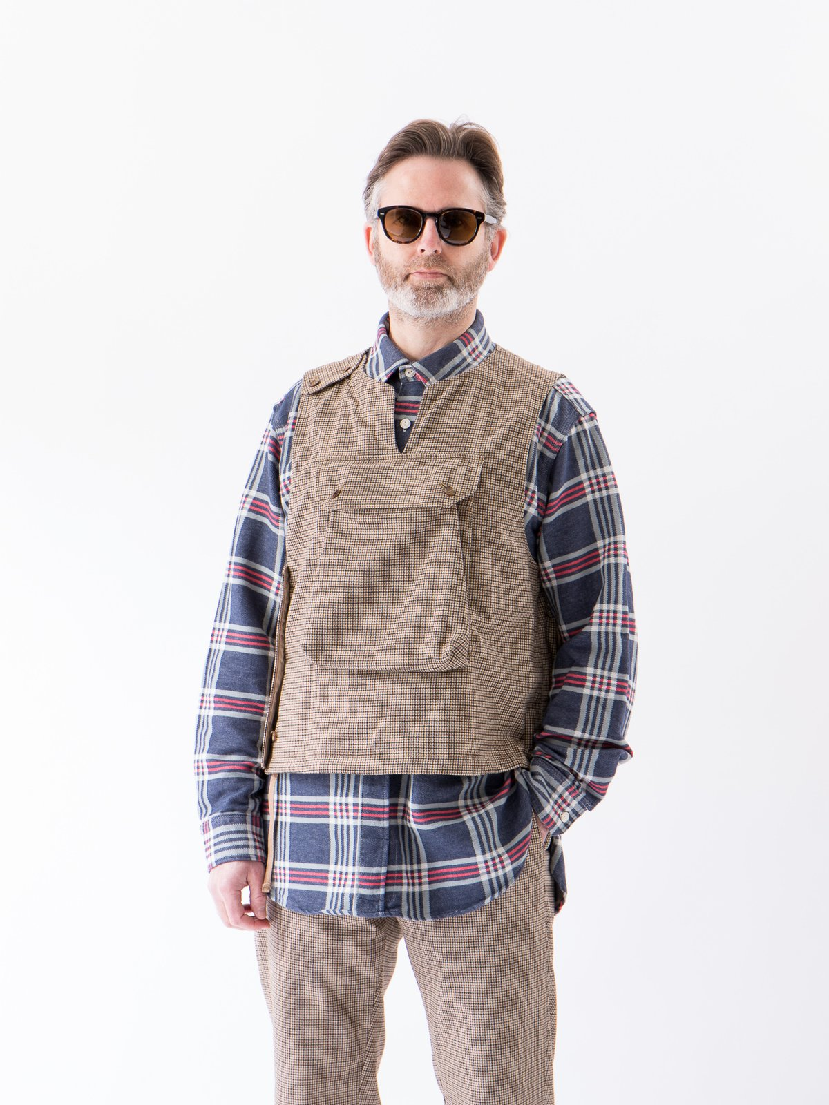 Brown Wool Poly Gunclub Check Cover Vest - Image 2