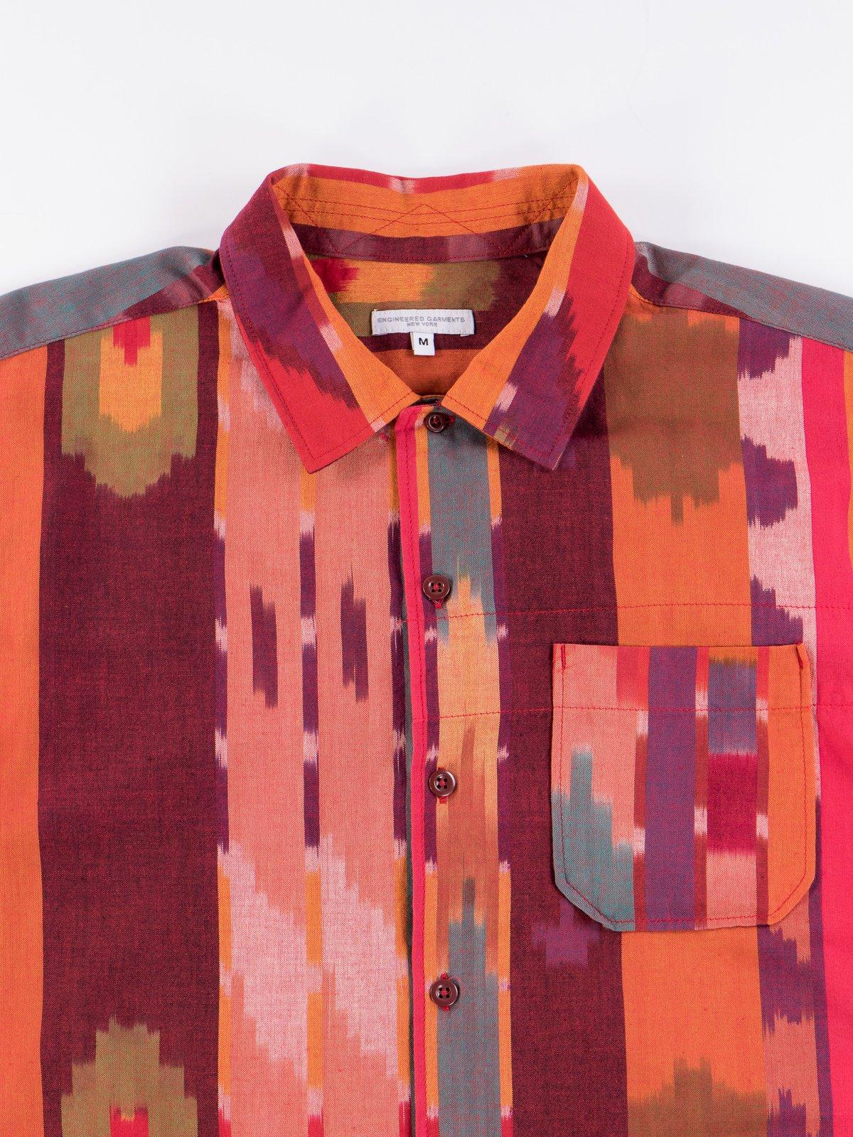 Red/Orange Cotton Ikat Camp Shirt - Image 3