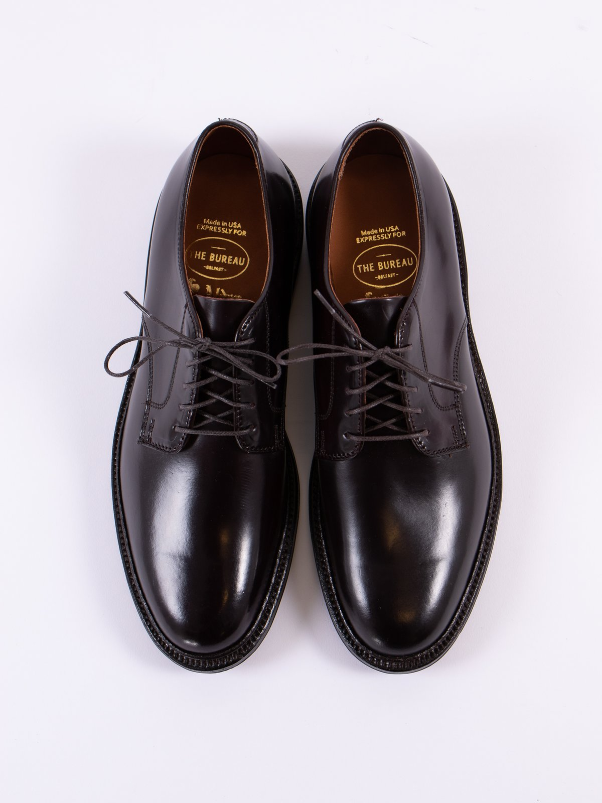 Color 8 Cordovan Plain Toe Blucher with Leather Sole - Image 6