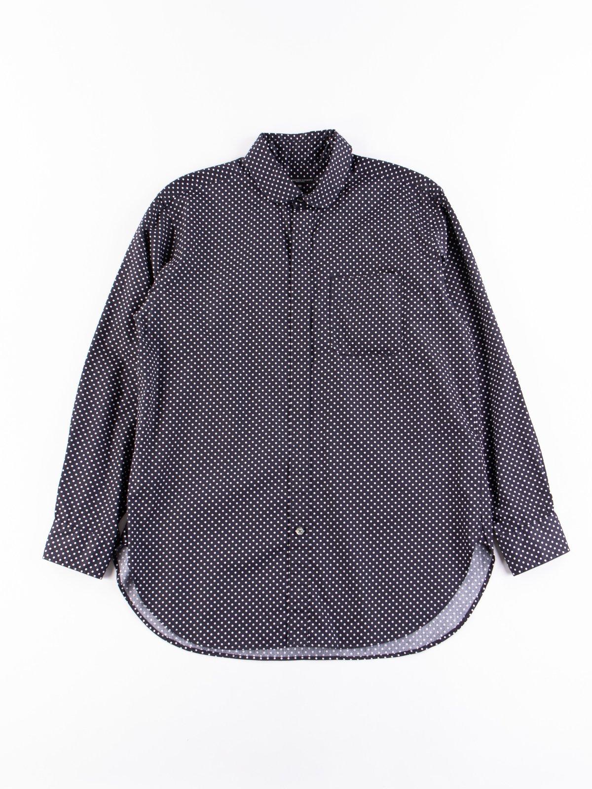 Navy Cotton Big Polka Dot Broadcloth Rounded Collar Shirt - Image 1
