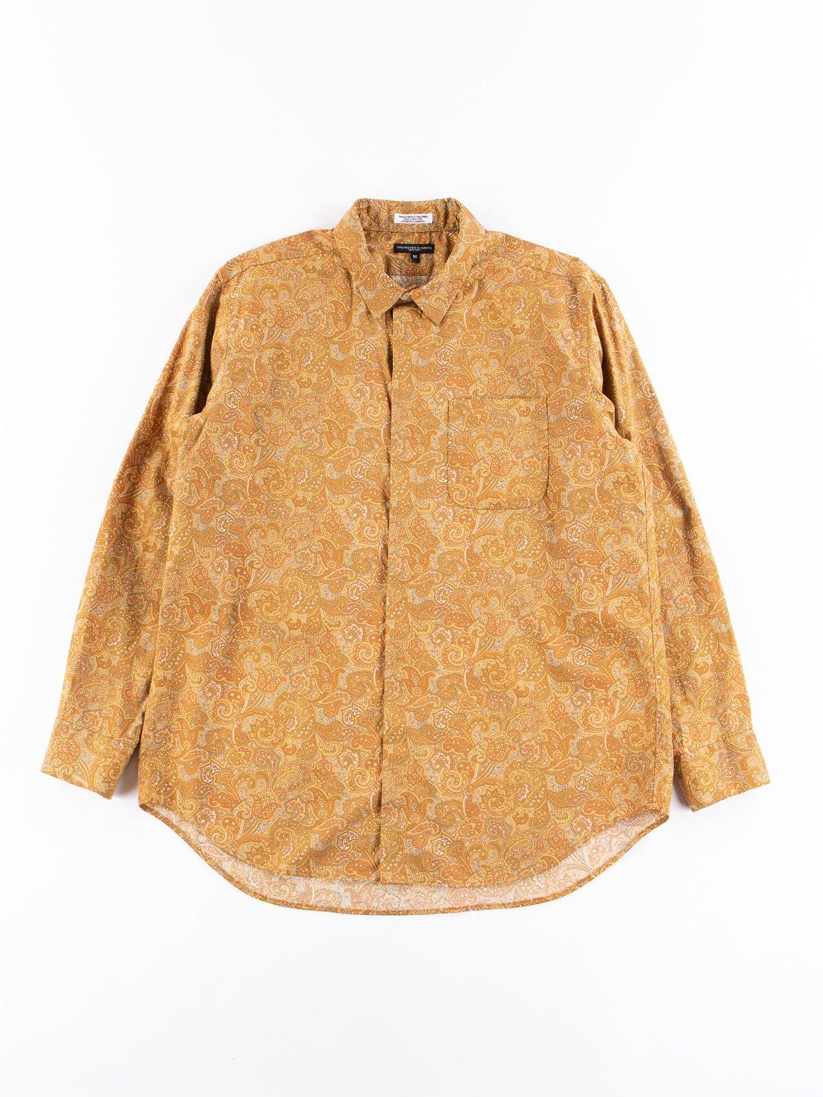 Tan/Olive Cotton Paisley Print Short Collar Shirt - Image 1
