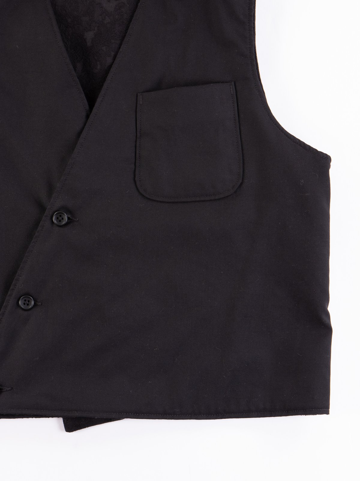 Black Worsted Wool Gabardine Reversible Vest - Image 4