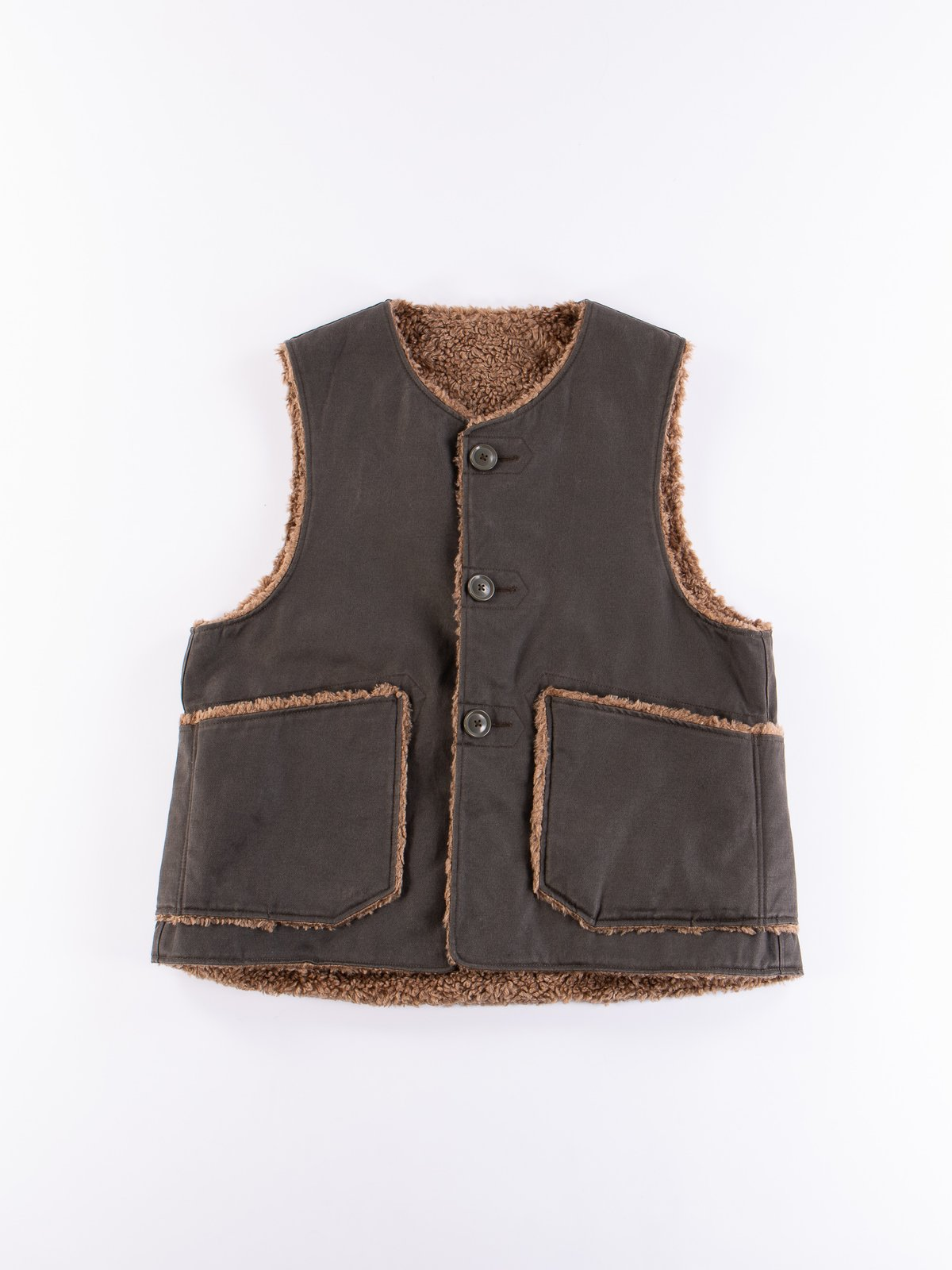 Dark Olive Coated Twill Over Vest - Image 1