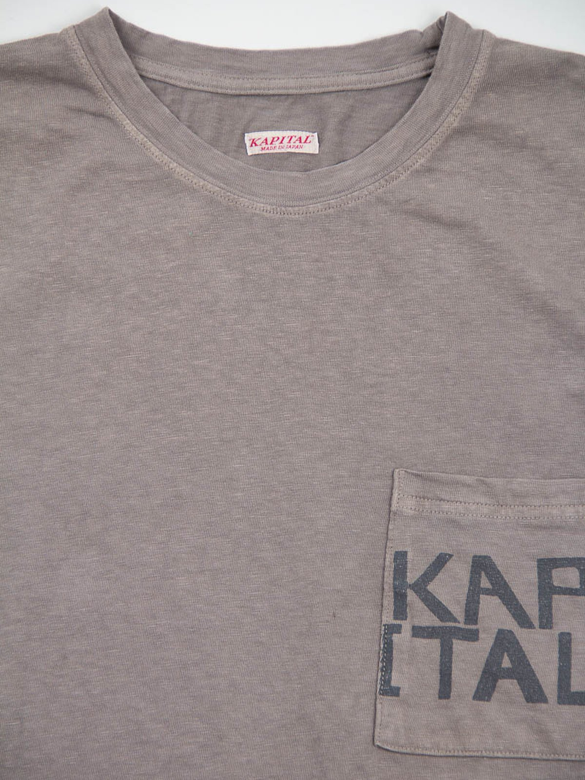 Charcoal Grey Kapital Jersey Crew Pocket T–Shirt - Image 2