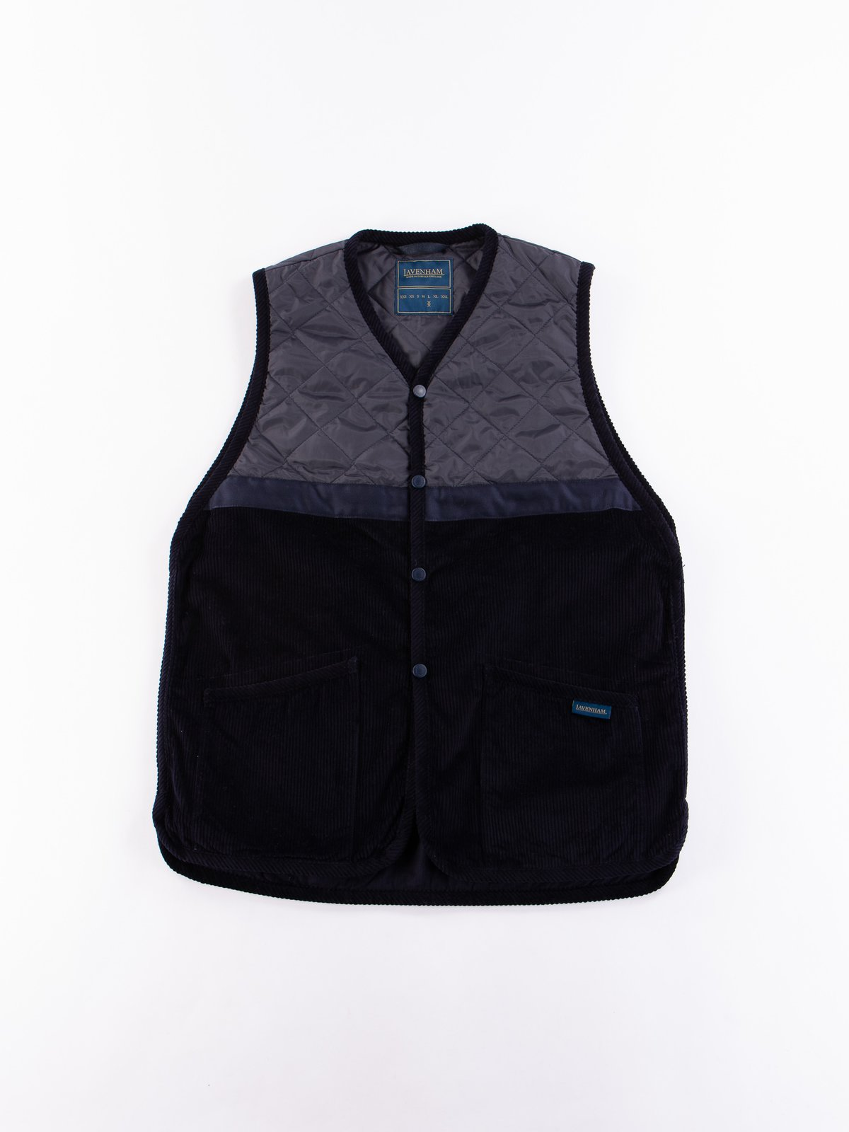 Navy Washed Cord Taped Gilet - Image 1