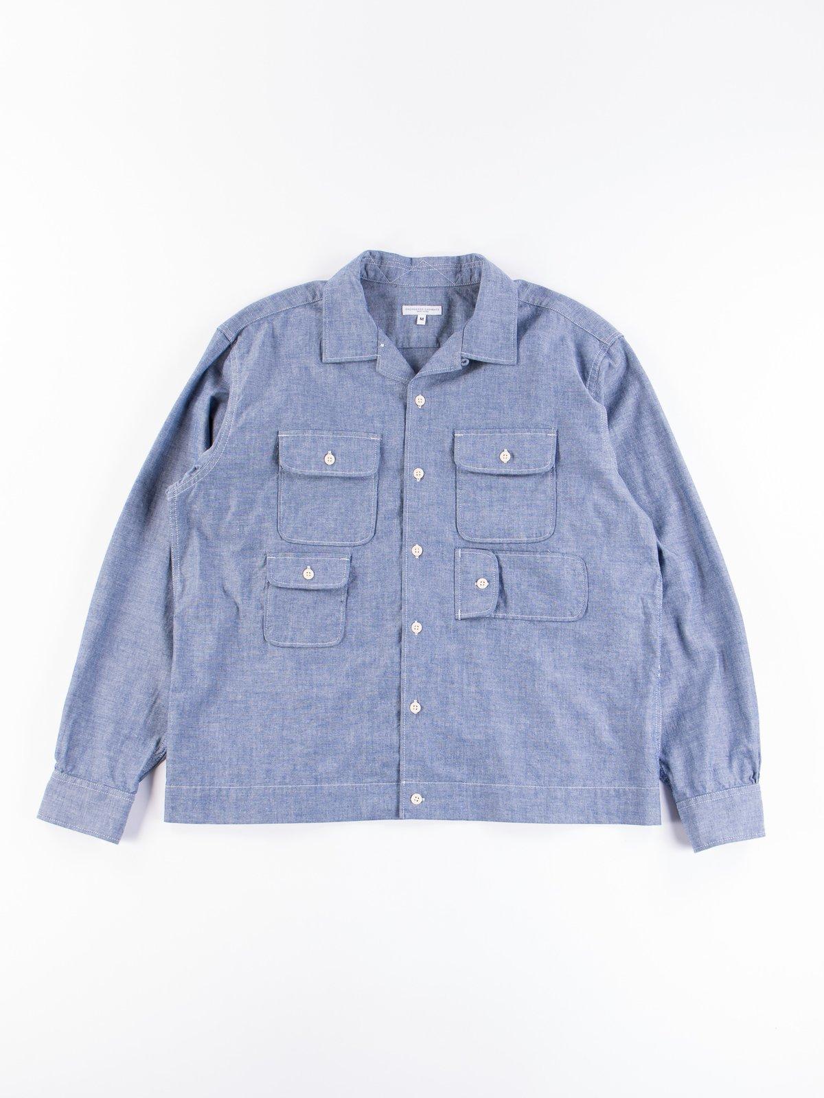 Blue Cotton Chambray Bowling Shirt - Image 1