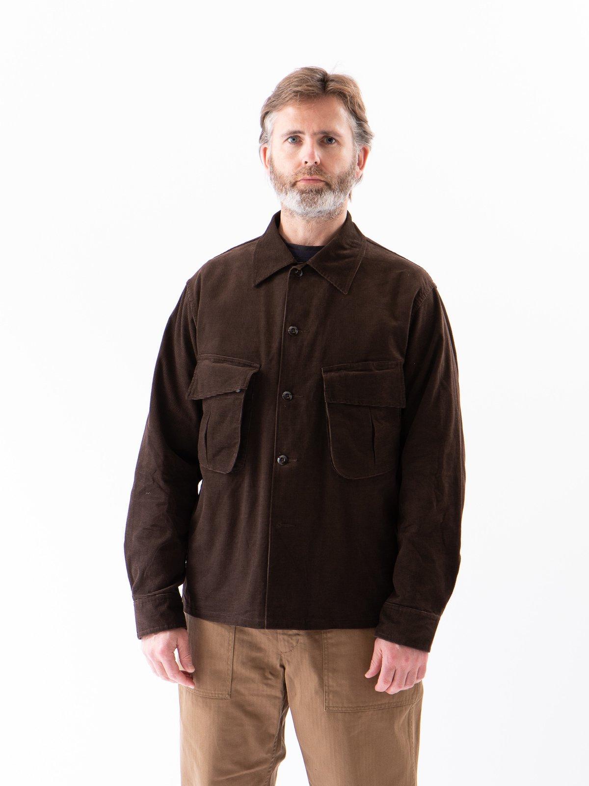 Dark Brown Dobby Caramel Corduroy Combat Short Jacket - Image 2