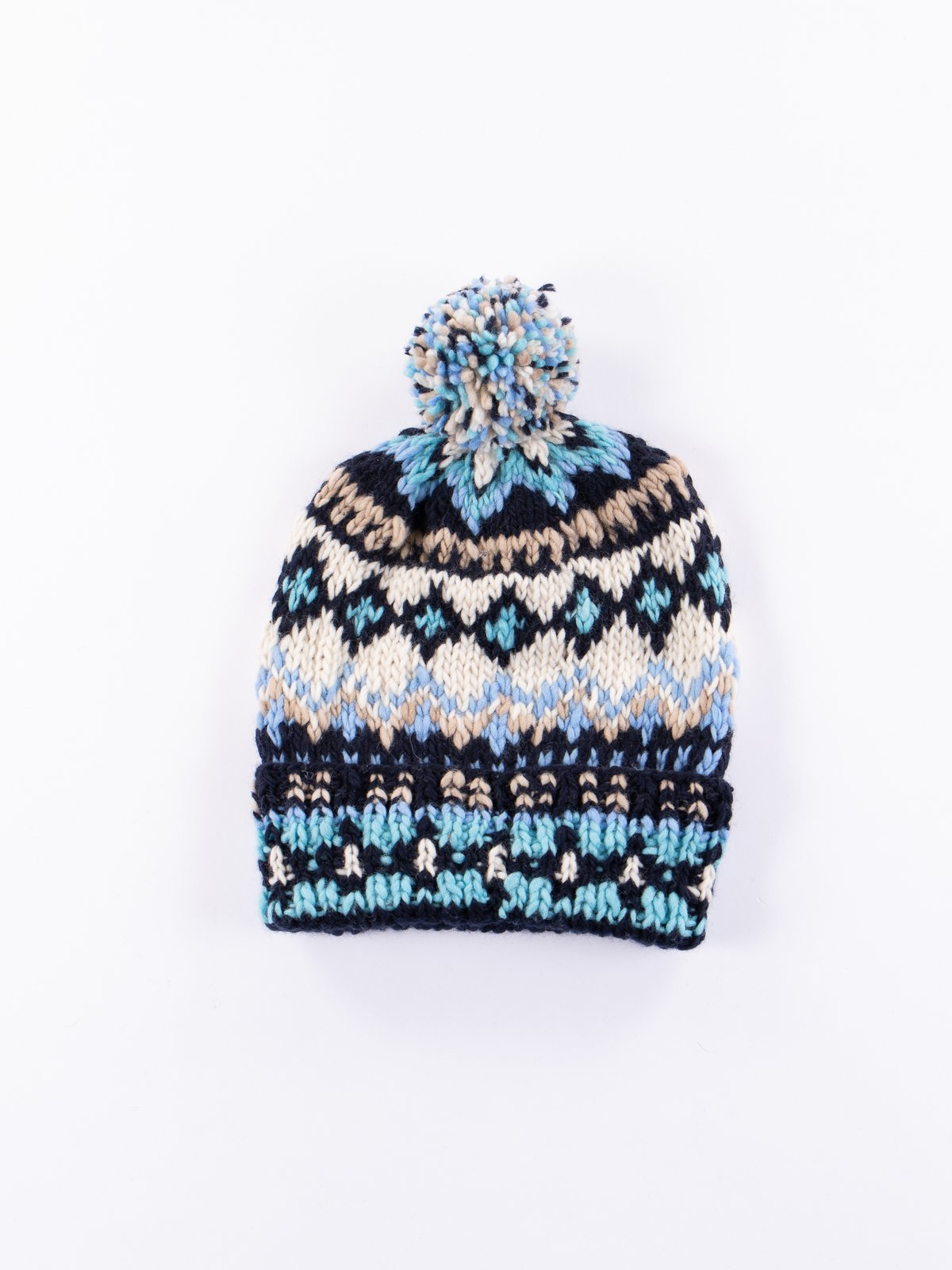 Navy Heather Double Cuff Fairisle Cap - Image 1