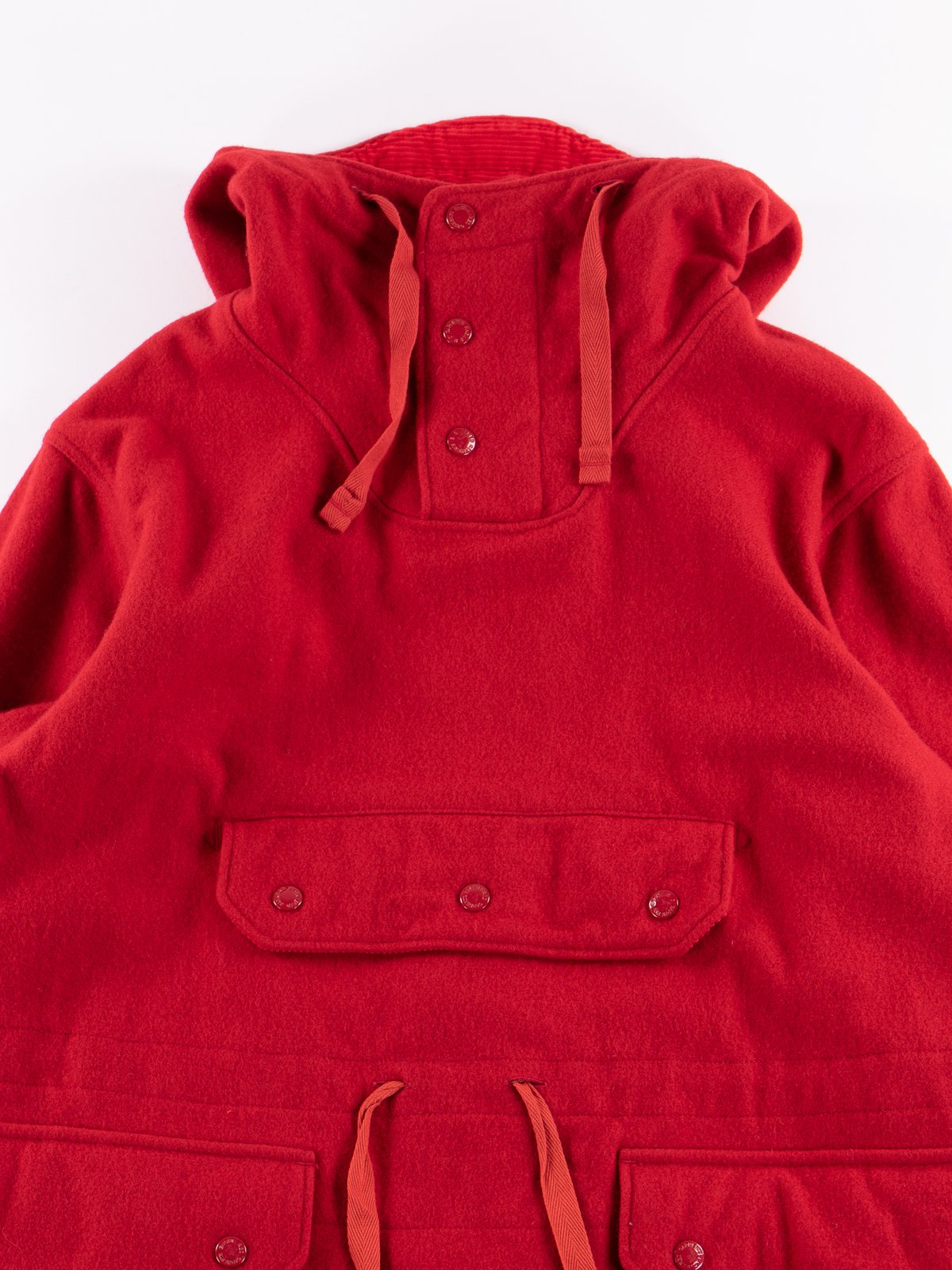 Red Wool Melton Over Parka - Image 3