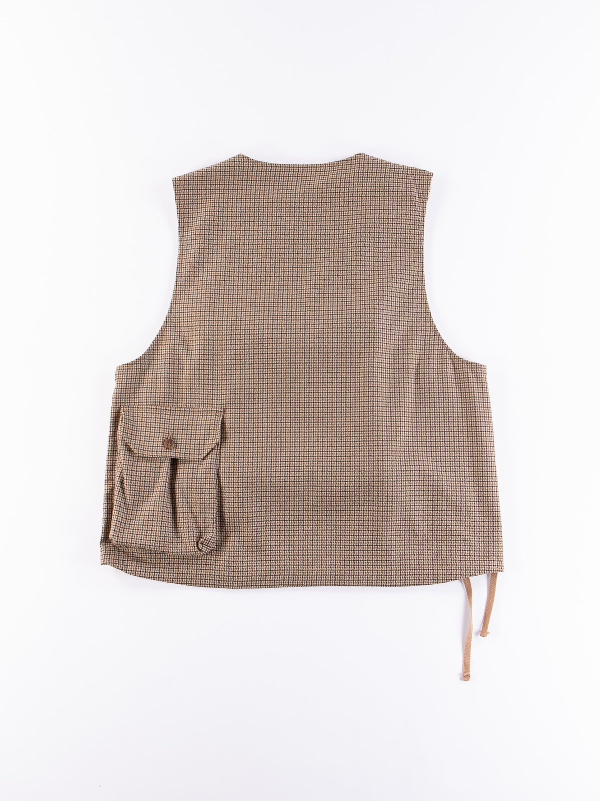 Brown Wool Poly Gunclub Check Cover Vest - Image 6
