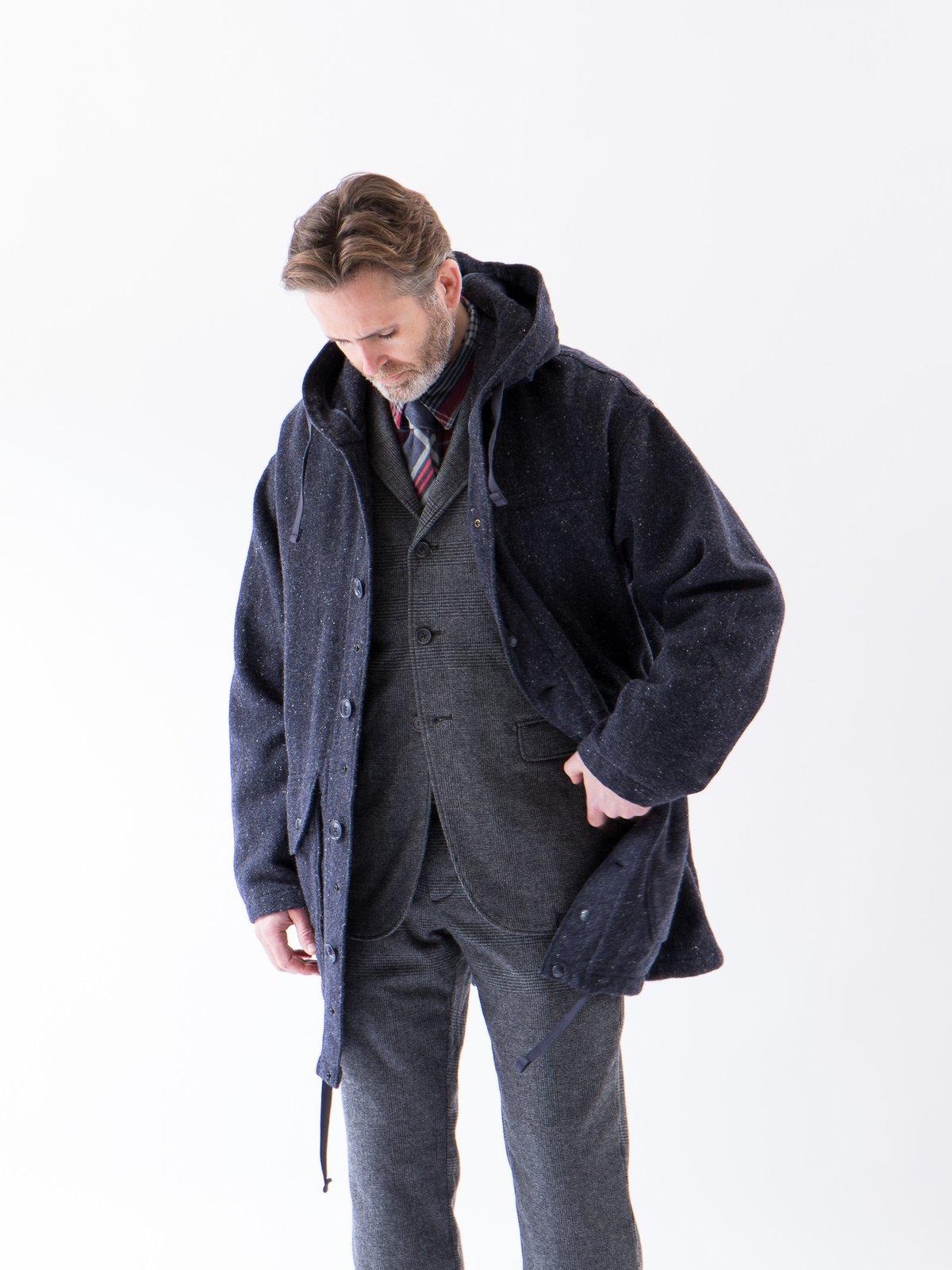 Navy Herringbone Donegal Wool Tweed Madison Parka - Image 3