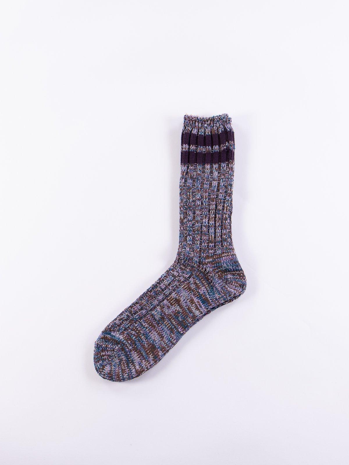 Blue/Purple 2 Line Rib Crew Socks - Image 1
