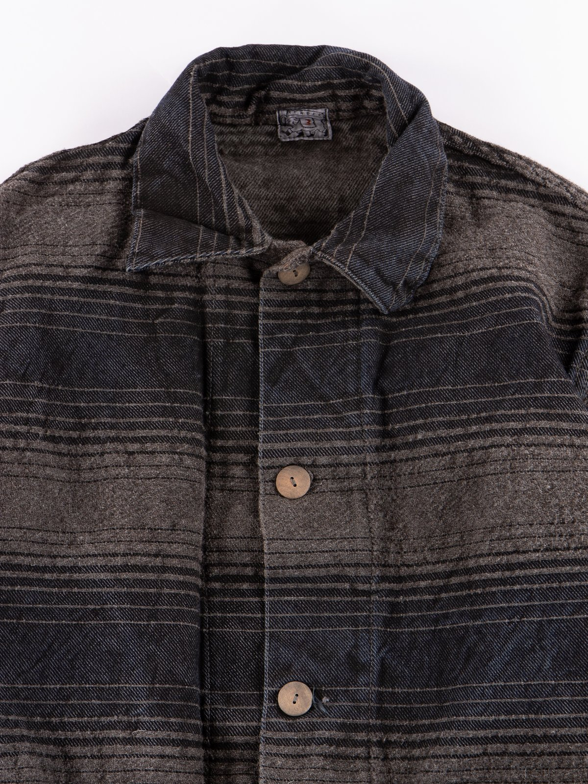 Indian Black Dye Doppler Stripe Collared Shepherd's Coat - Image 3