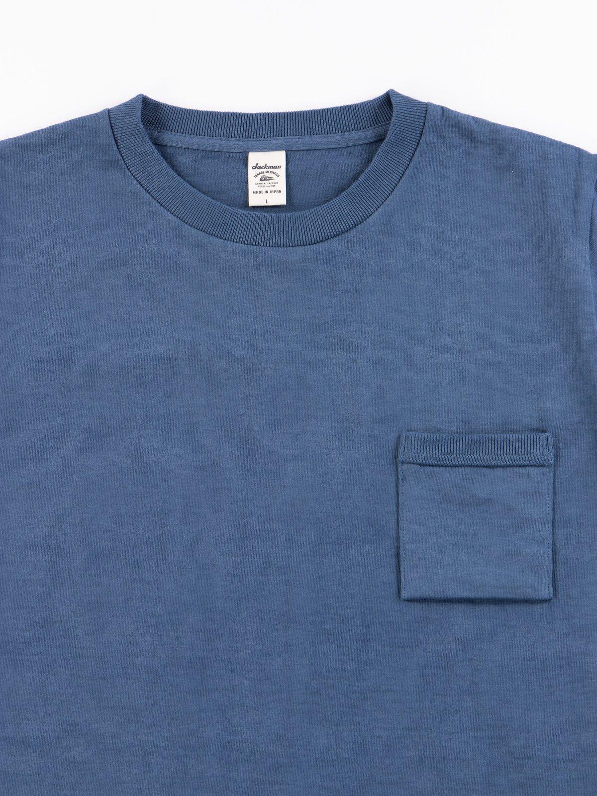 Ash Blue Dotsume Pocket T–Shirt - Image 3