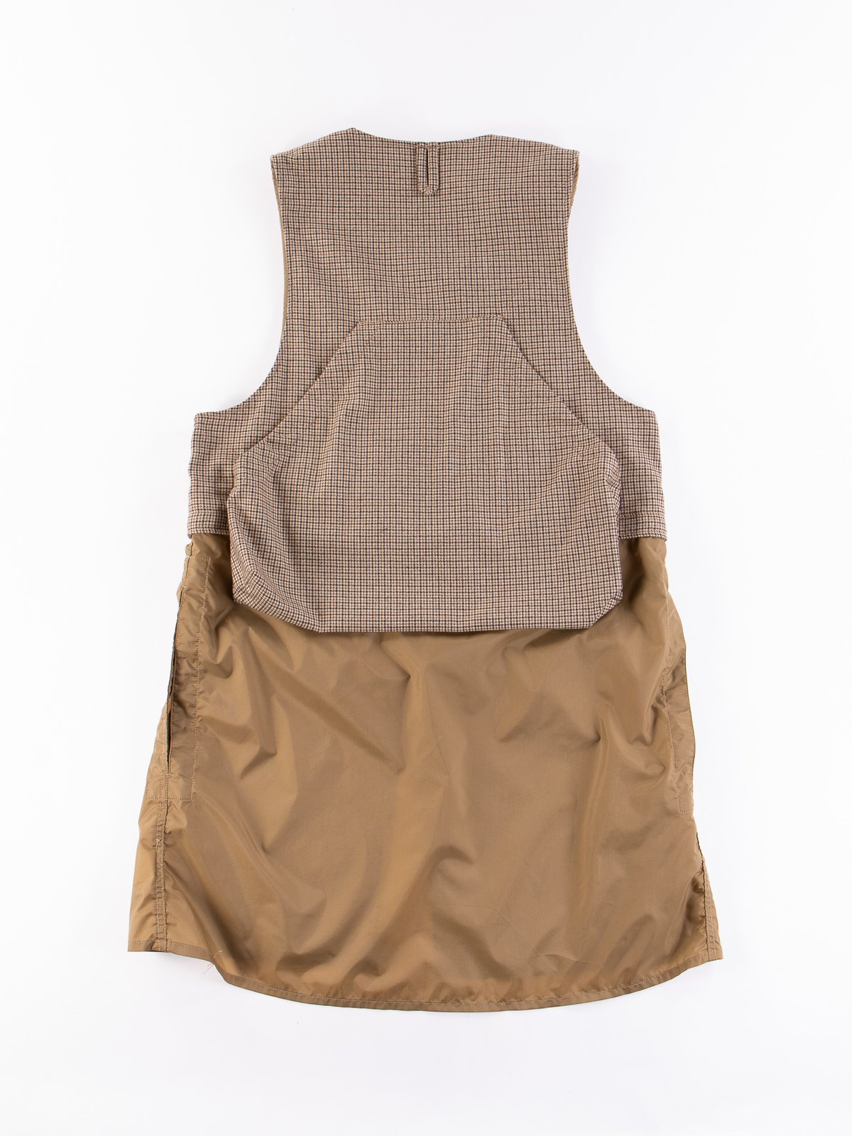 Brown Wool Poly Gunclub Check Long Fowl Vest - Image 7