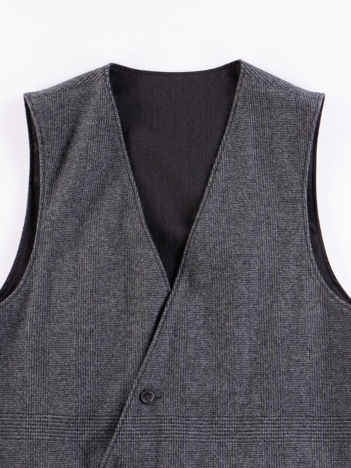 Charcoal Worsted Wool Gabardine Reversible Vest - Image 6