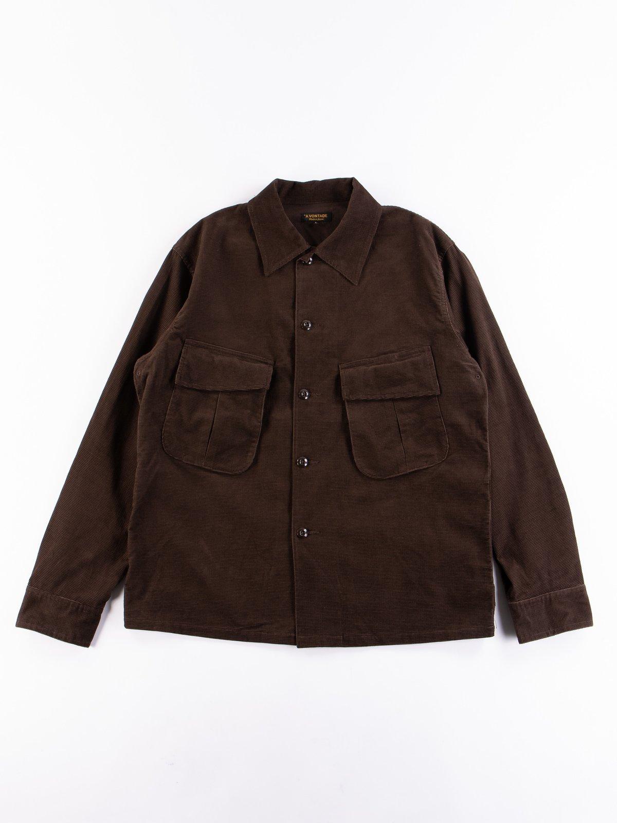 Dark Brown Dobby Caramel Corduroy Combat Short Jacket - Image 1