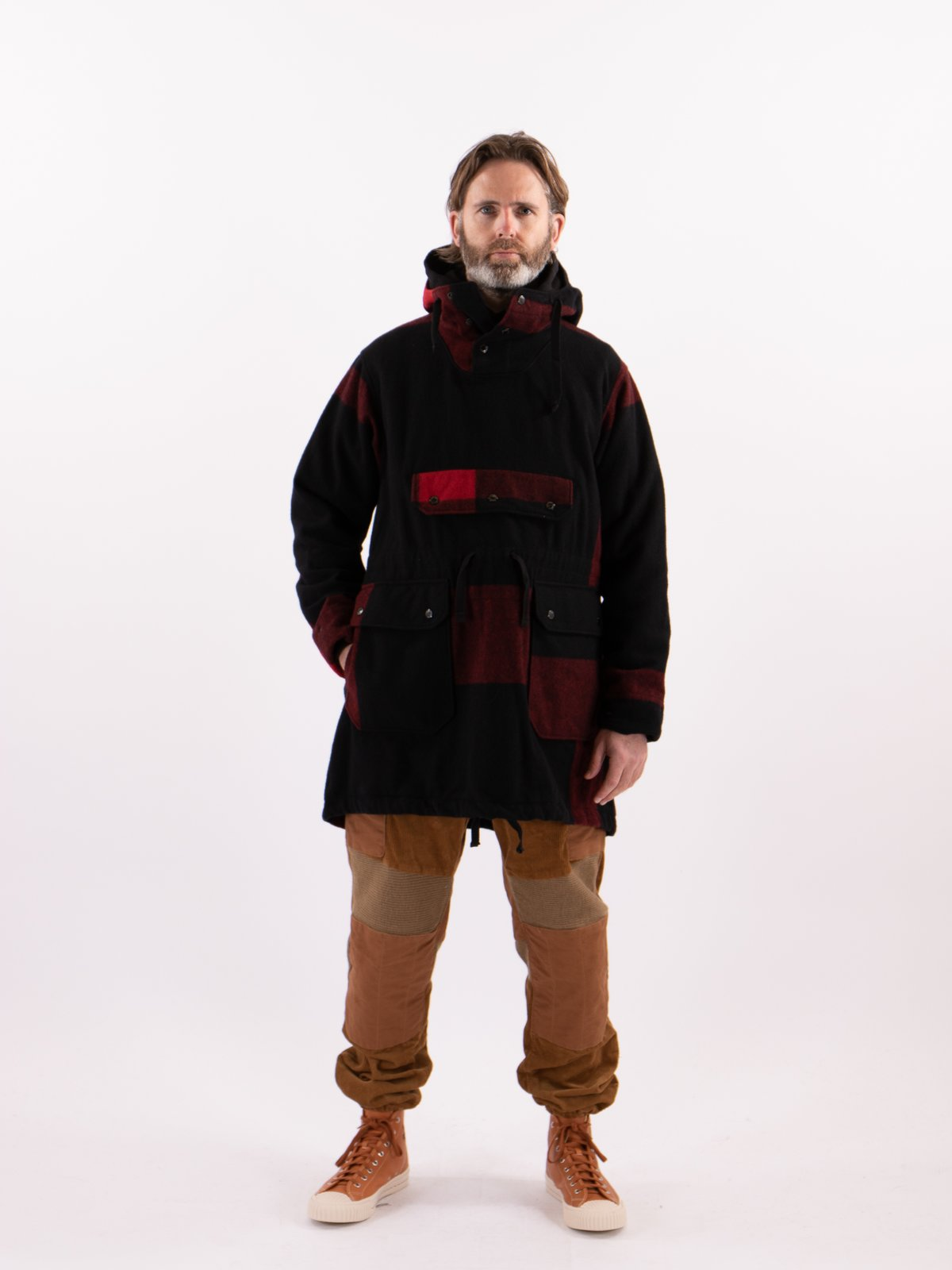 Black Big Plaid Wool Melton Over Parka - Image 2