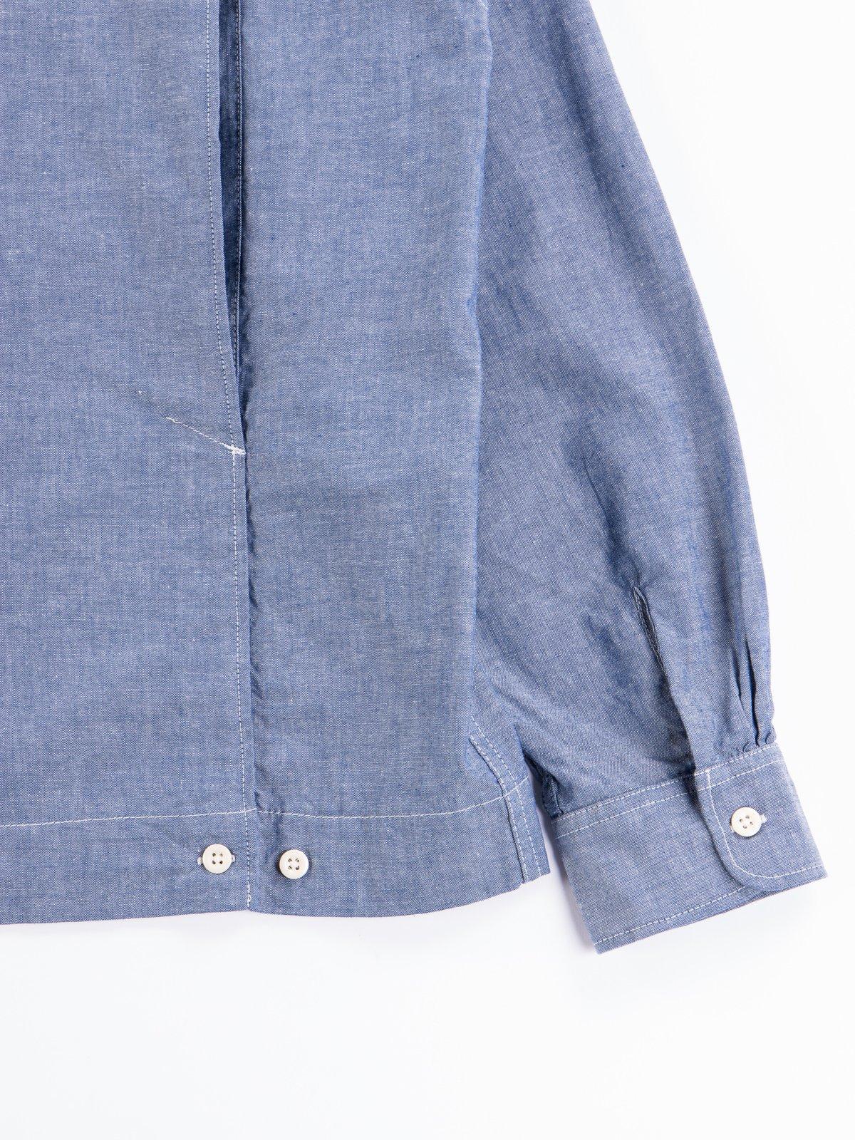 Blue Cotton Chambray Bowling Shirt - Image 7