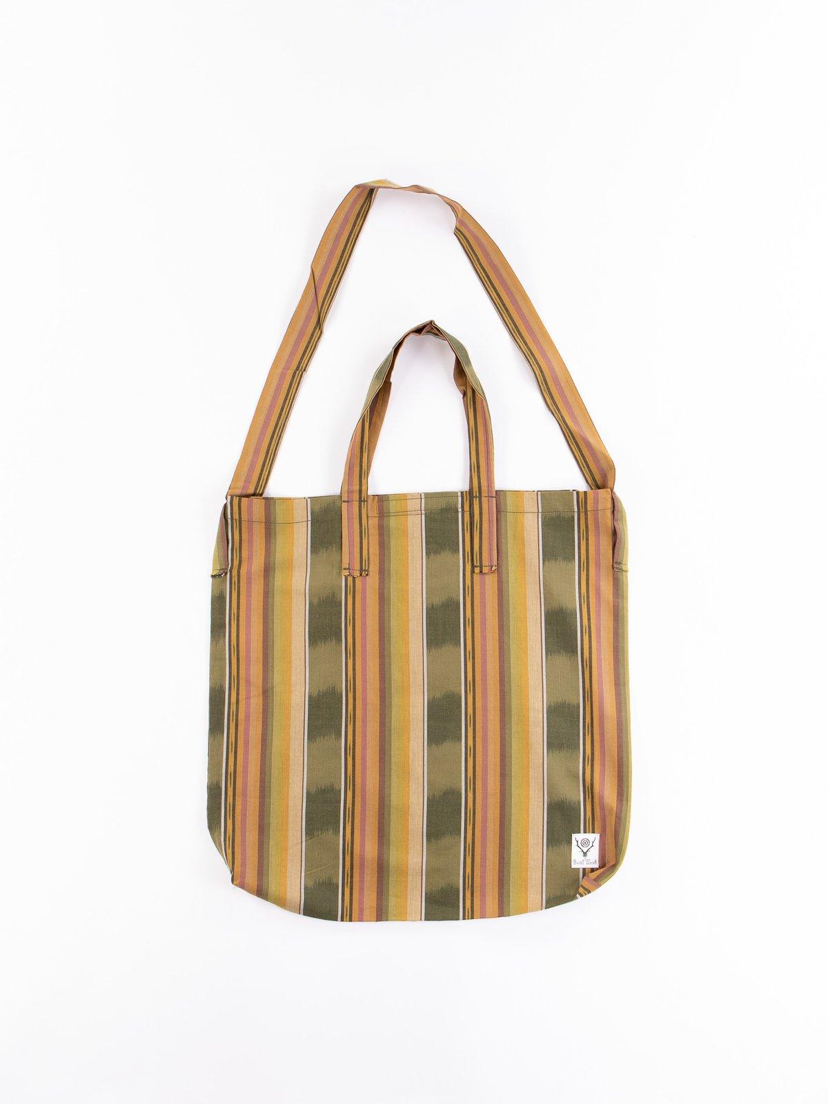 Green/Beige/Brown lkat Pattern Grocery Bag - Image 1