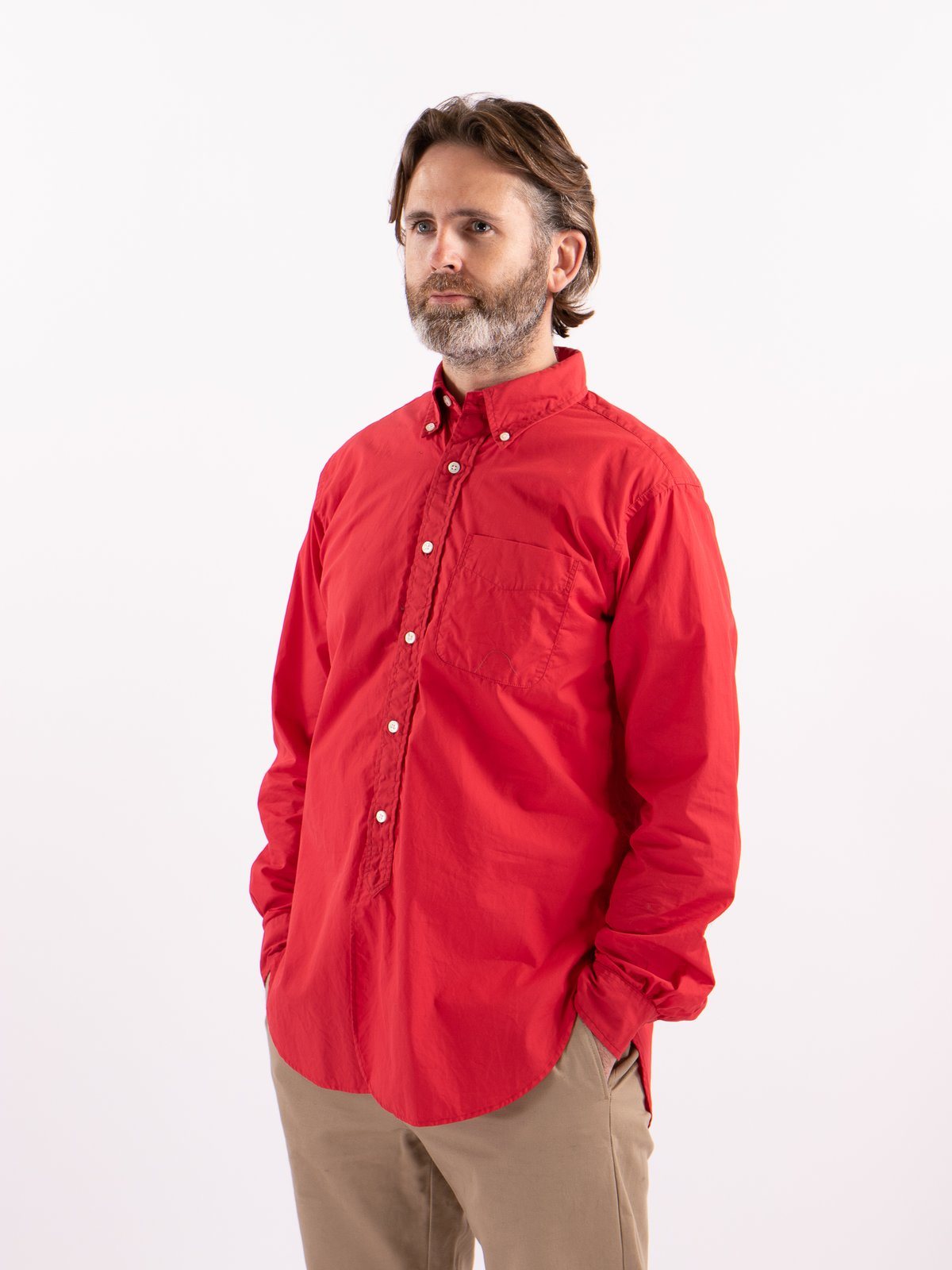 Red 100's 2ply Broadcloth 19th Century BD Shirt - Image 2