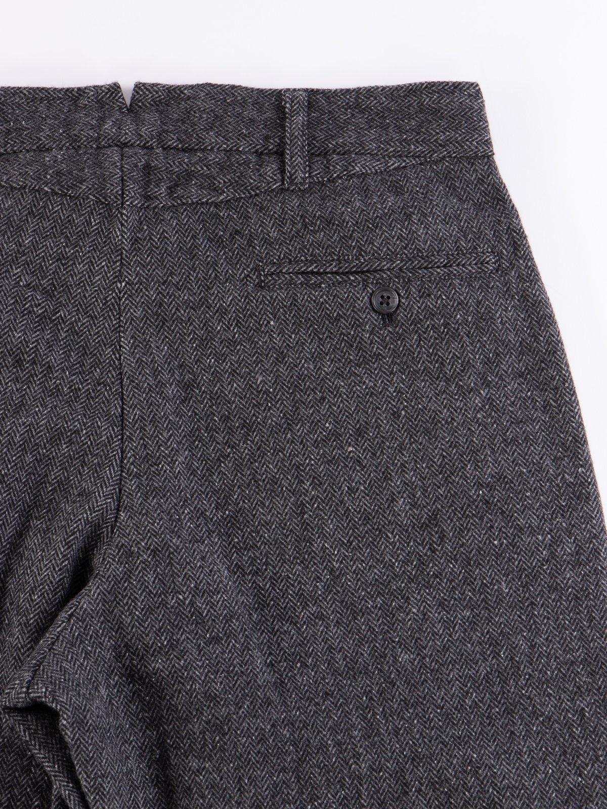 Grey Poly Wool Herringbone Andover Pant - Image 6