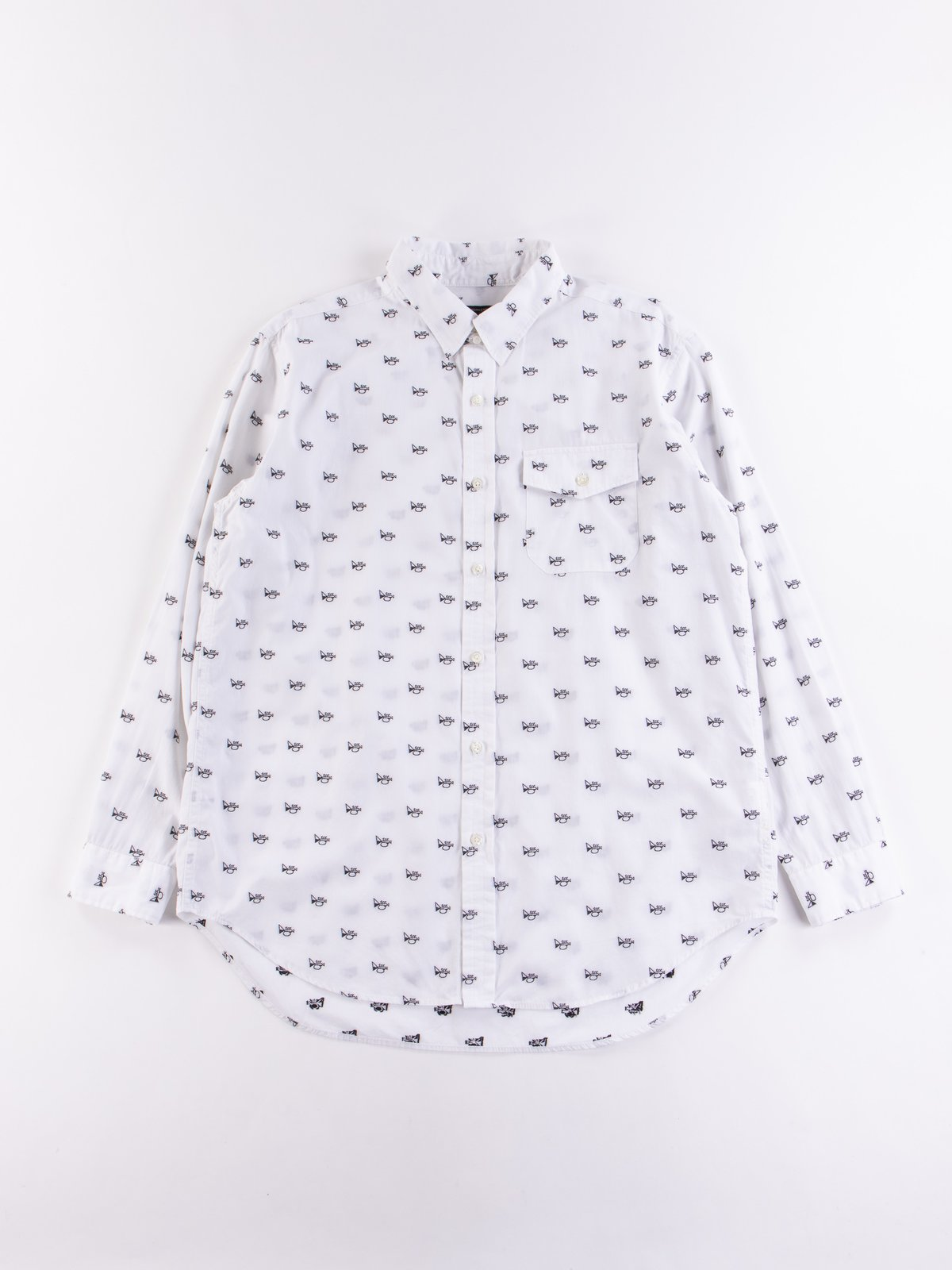 White Trumpet Embroidery Broadcloth Tab Collar Shirt - Image 1