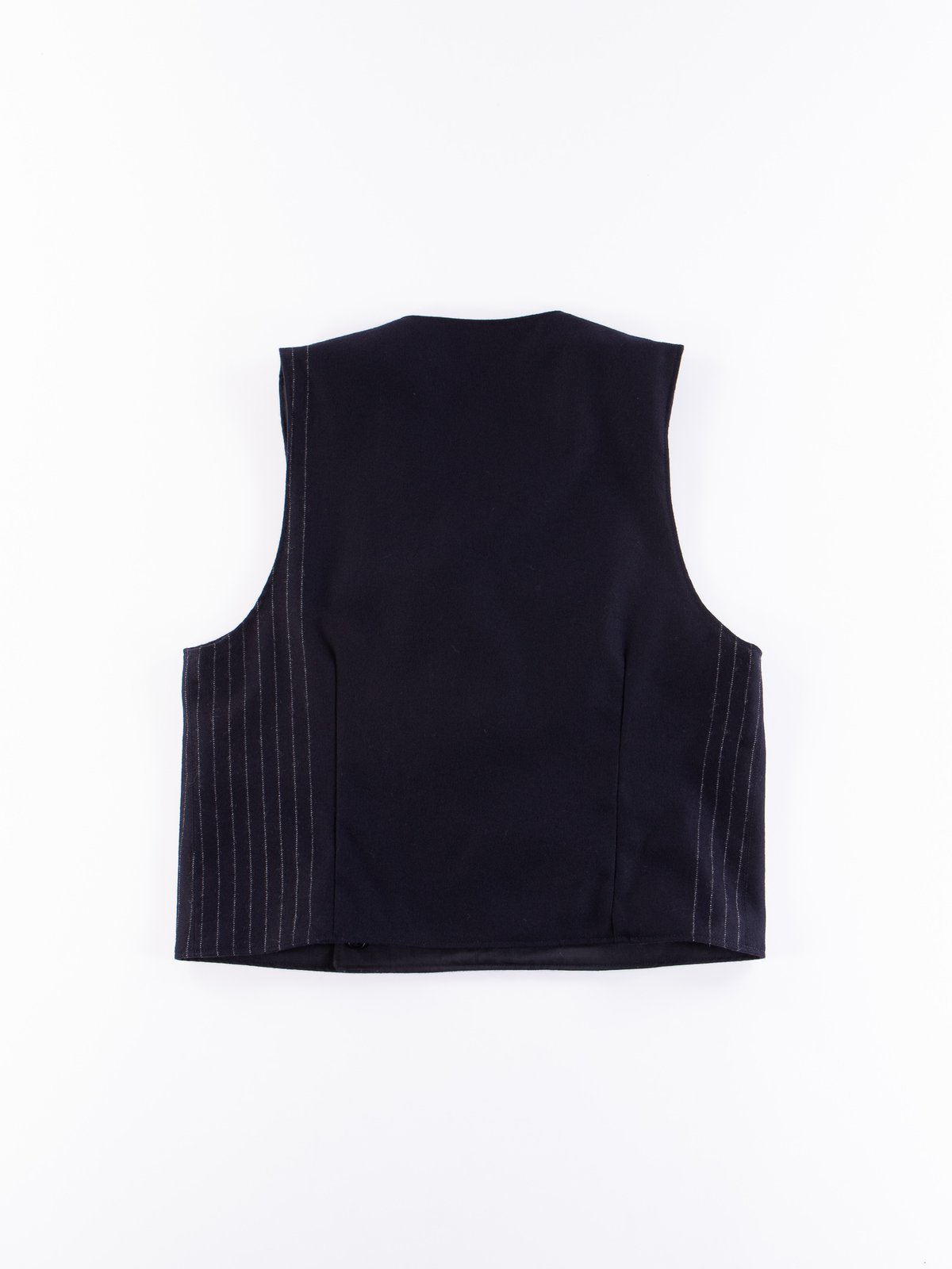 Dark Navy Worsted Wool Gabardine Reversible Vest - Image 7