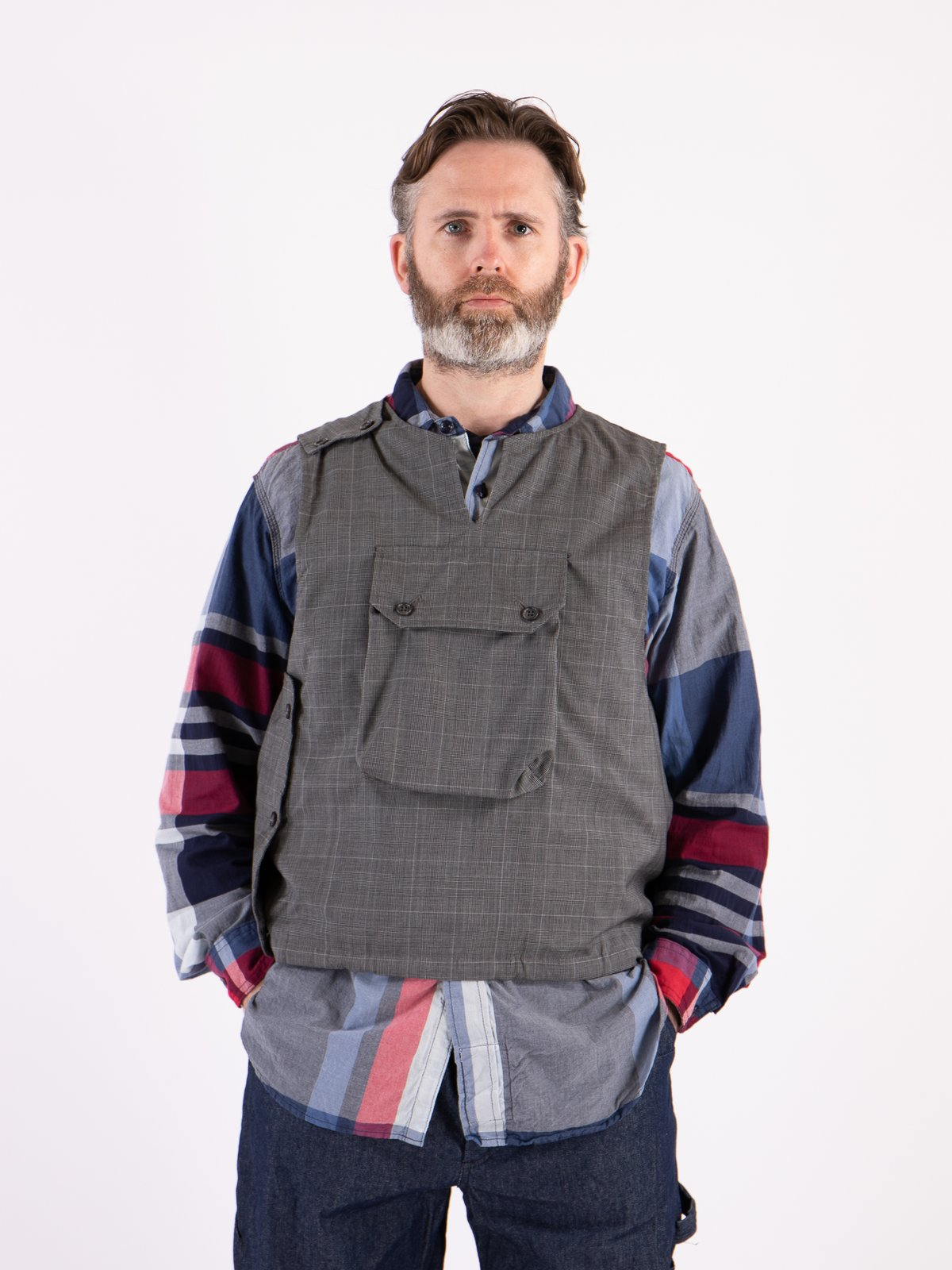 Grey Glen Plaid Tropical Wool Cover Vest - Image 2