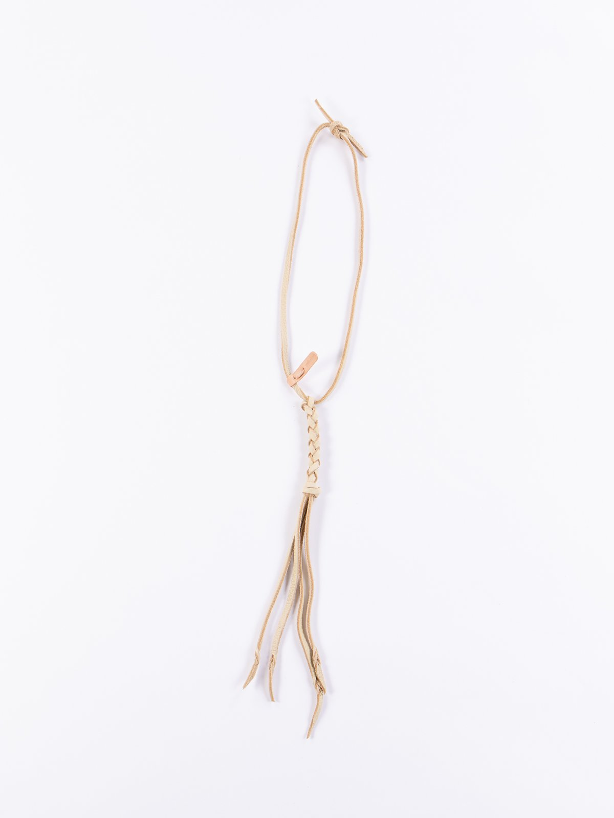 Cream Braided Leather Necklace - Image 1