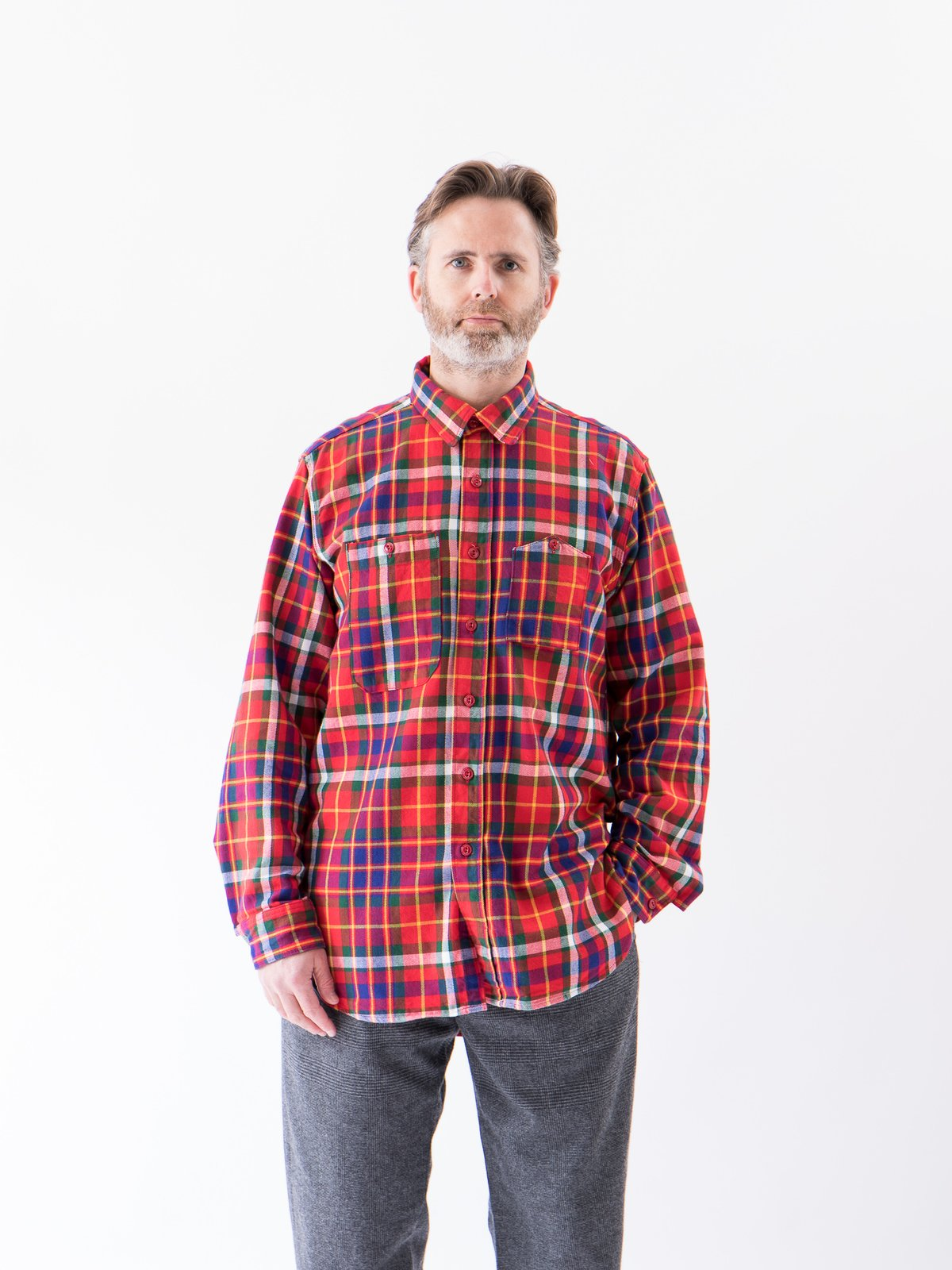 Red/Green/Yellow Cotton Twill Plaid Work Shirt - Image 2