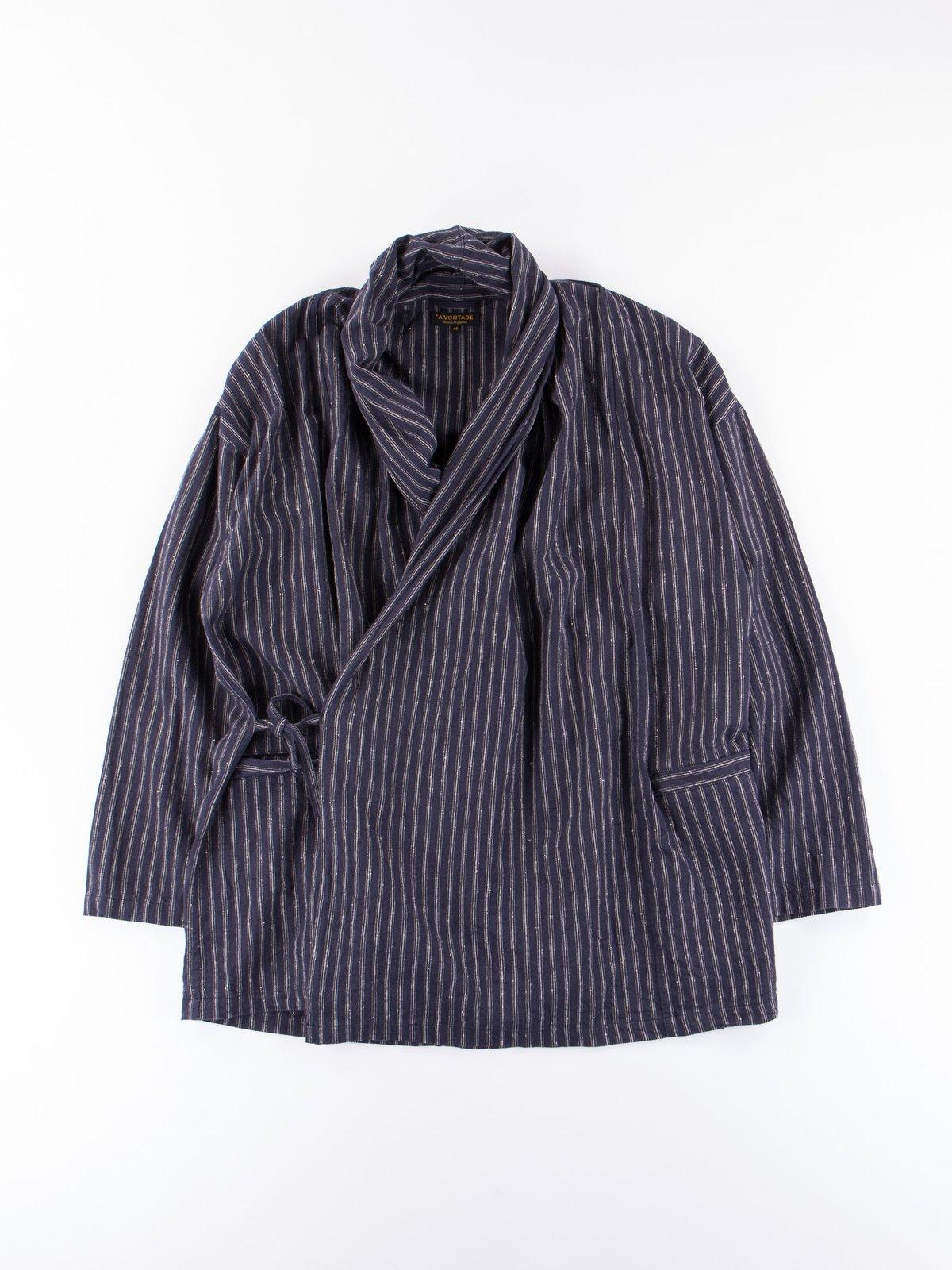Dark Navy Stripe Robe Jacket - Image 1