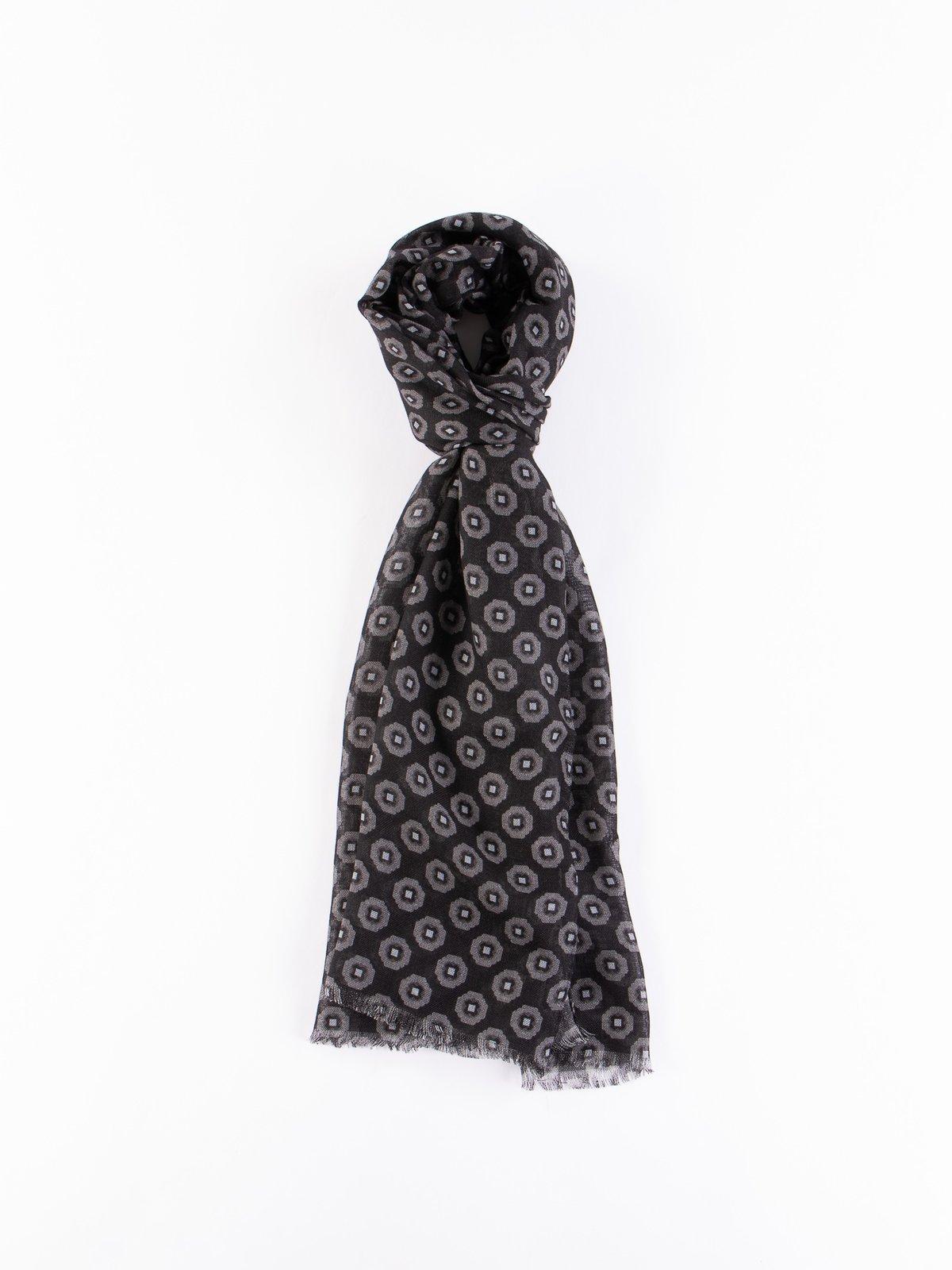 Black/Grey Wool Gauze Foulard Dress Scarf - Image 1