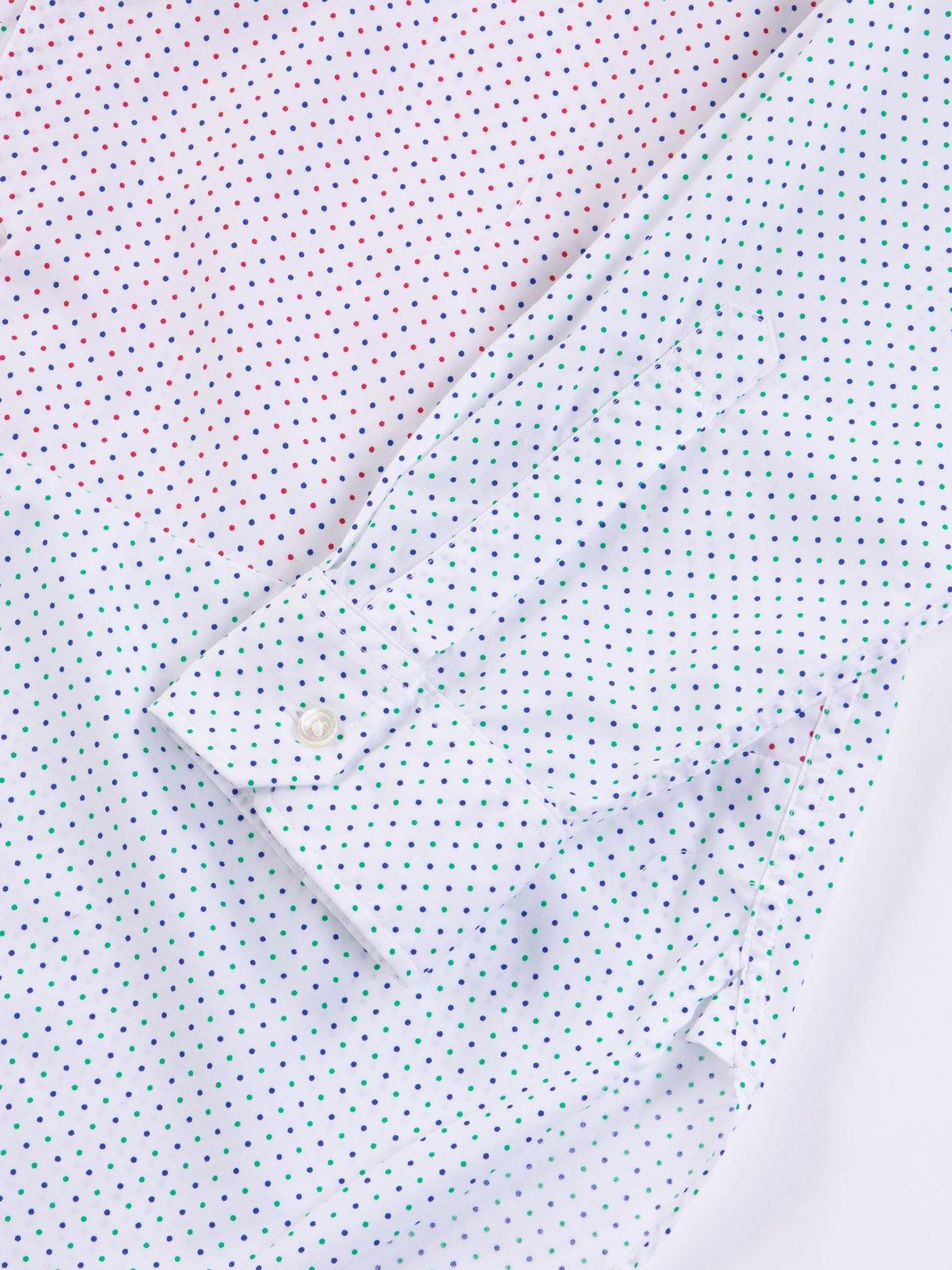 Red/Navy Small Polka Dot Spread Collar Shirt - Image 5