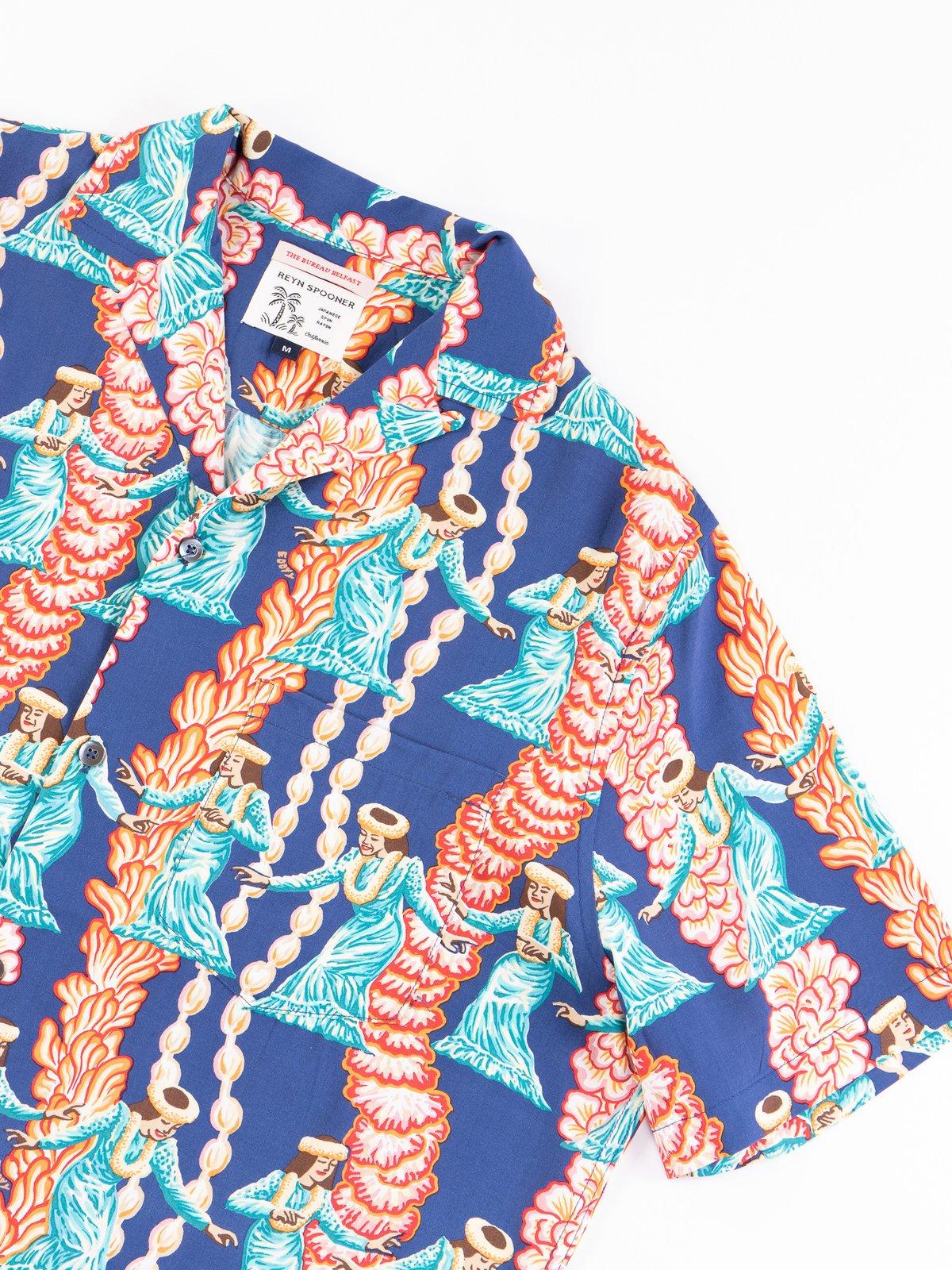 Navy Hula Auana Rayon Camp Shirt - Image 5