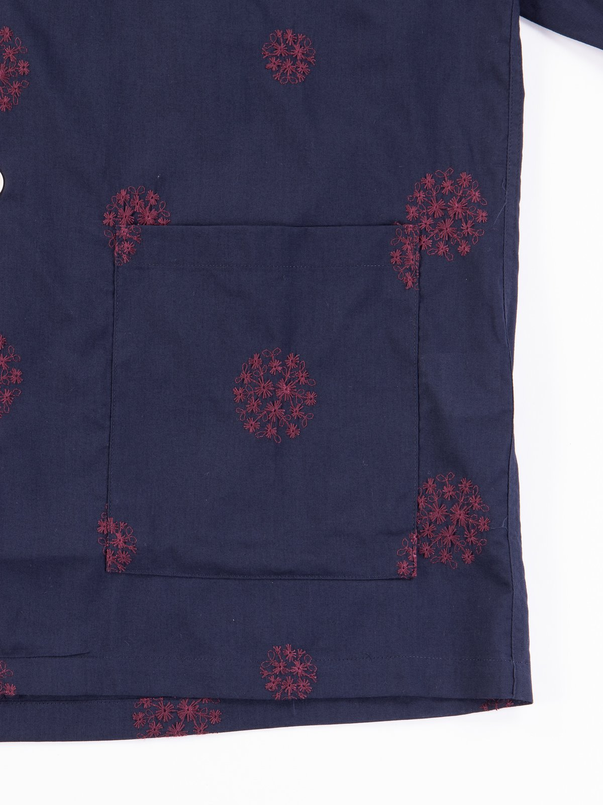 Navy Floral Dot Embroidered Cabana Shirt - Image 3