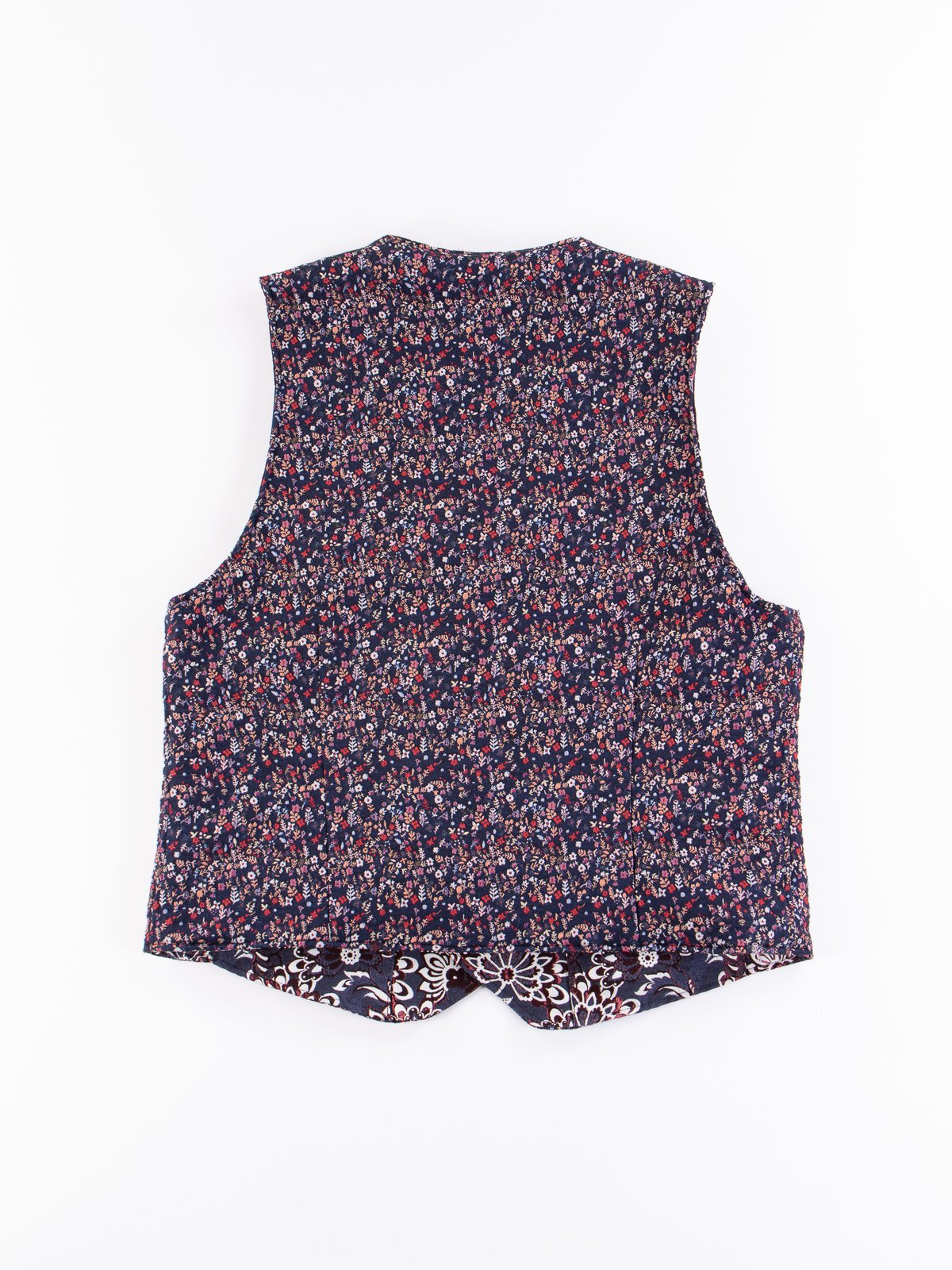 Navy Polyester Mini Floral Jacquard Reversible Vest - Image 4