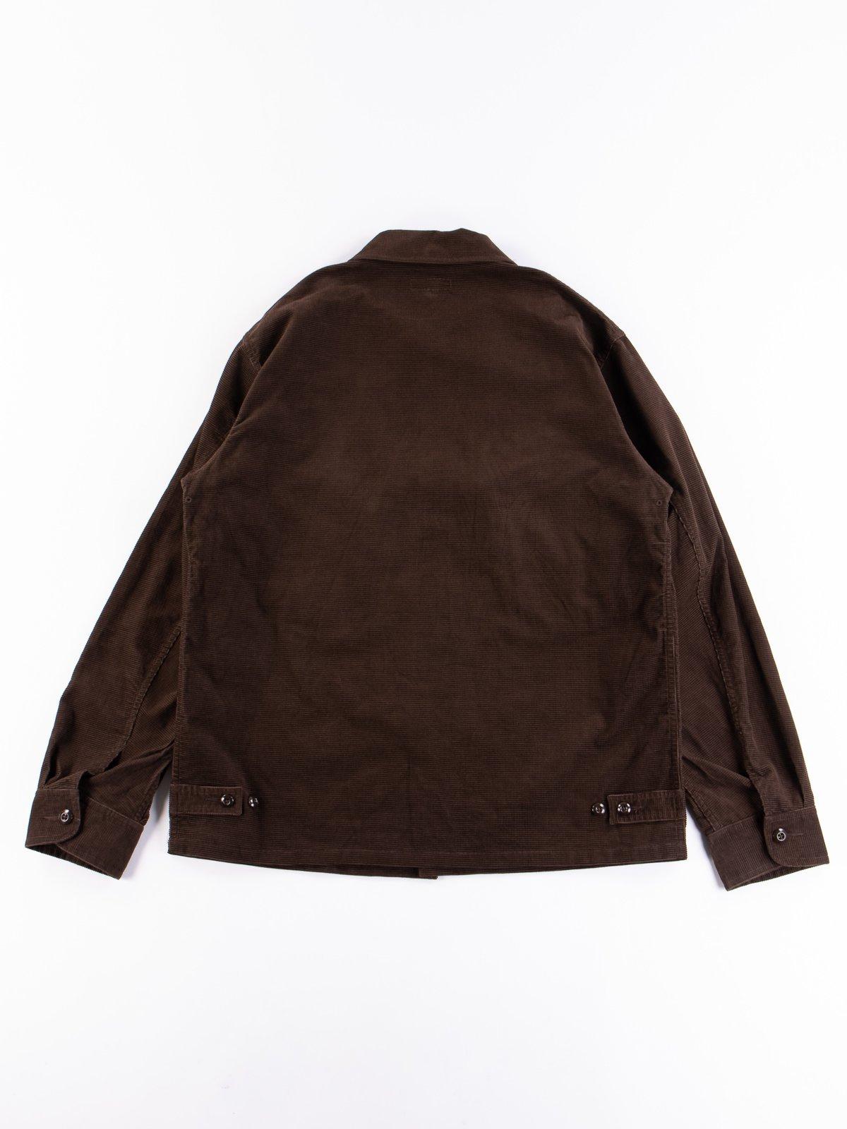 Dark Brown Dobby Caramel Corduroy Combat Short Jacket - Image 6